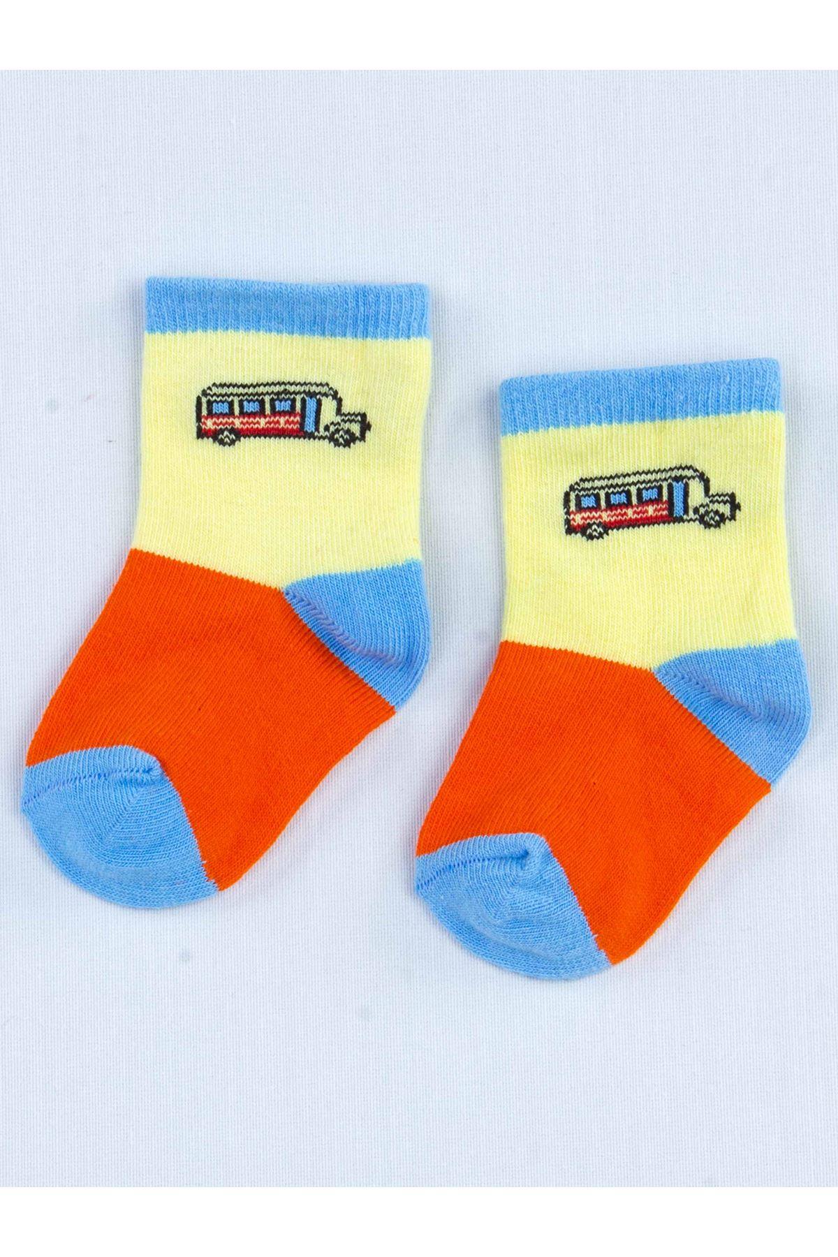 Turuncu Kokulu Erkek Bebek 2 li Çorap