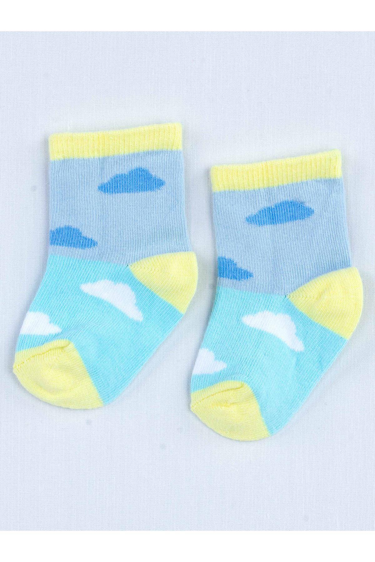 Sarı Kokulu Erkek Bebek 2 li Çorap
