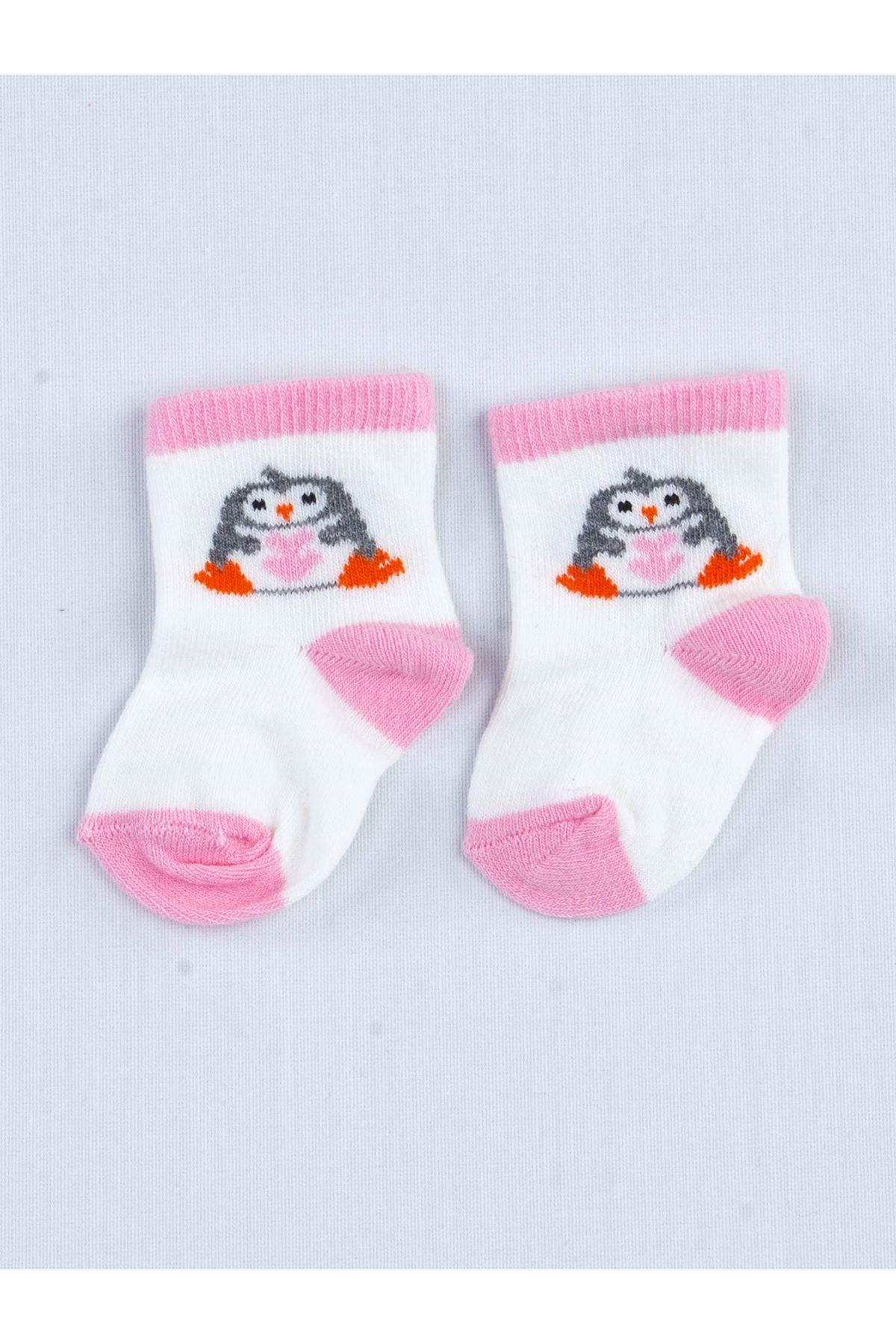 Pembe Kokulu Kız Bebek 3 lü Çorap