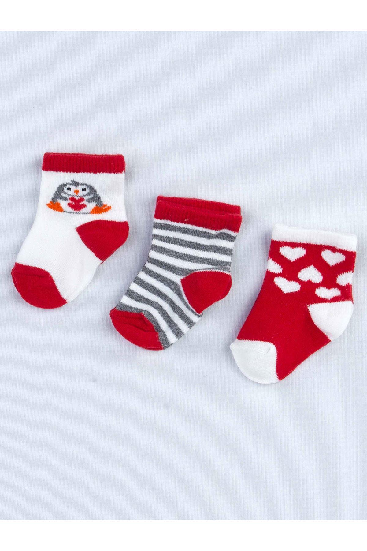Kırmızı Kokulu Bebek 3 lü Çorap
