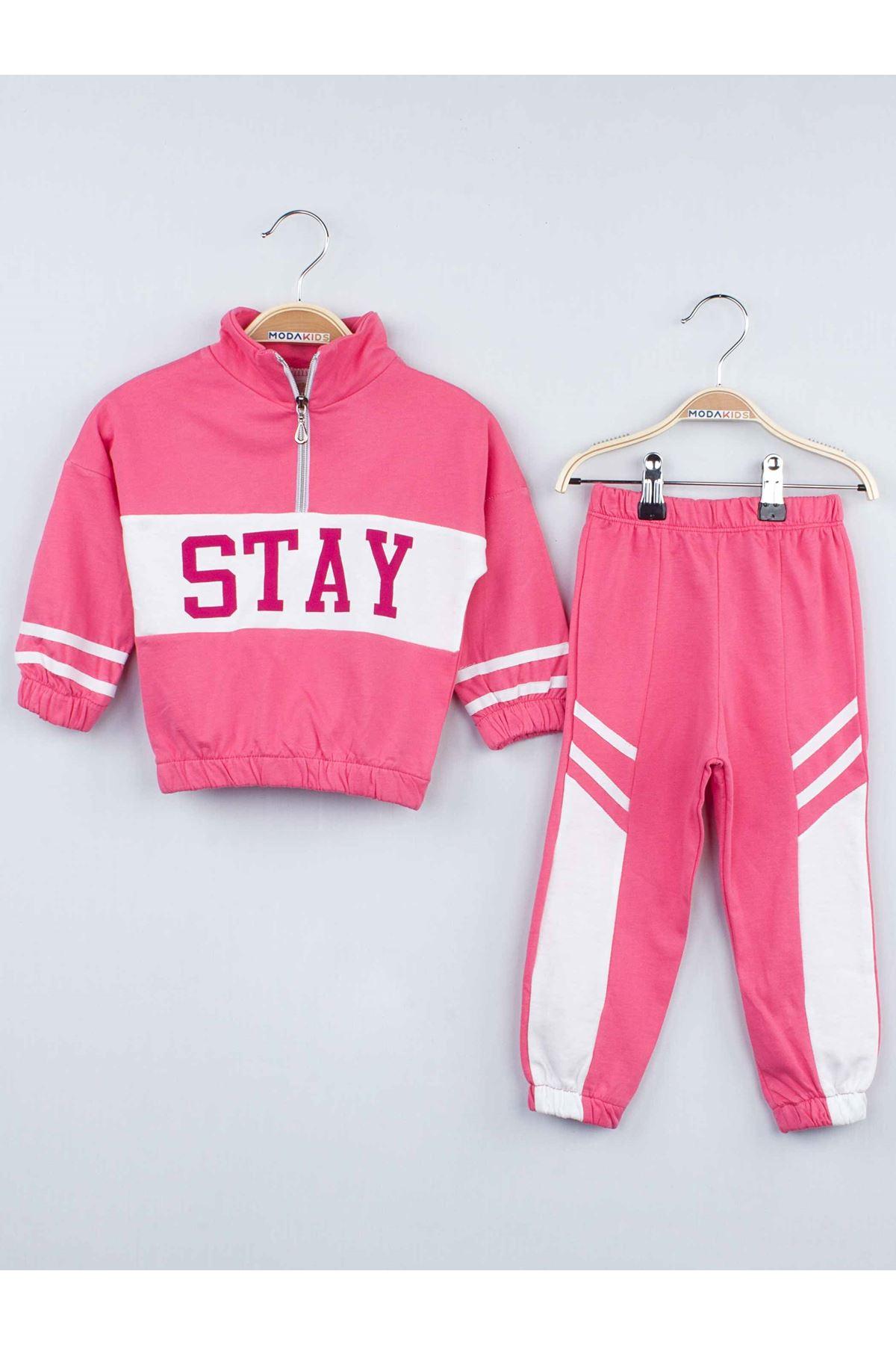 Pink Seasonal Girl Children Tracksuit Set