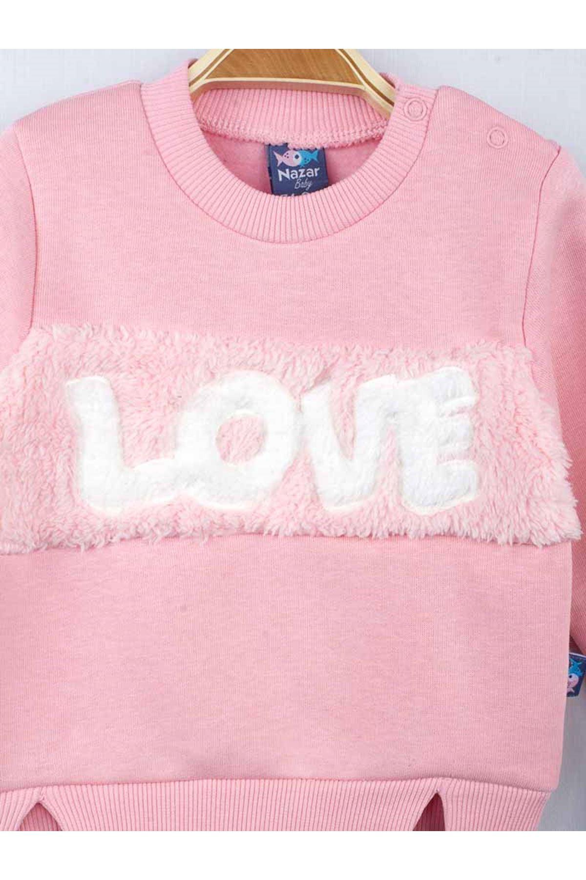 Pink navy blue girls baby 2 piece set bottom tracksuit top sweat love patterned seasonal suit models