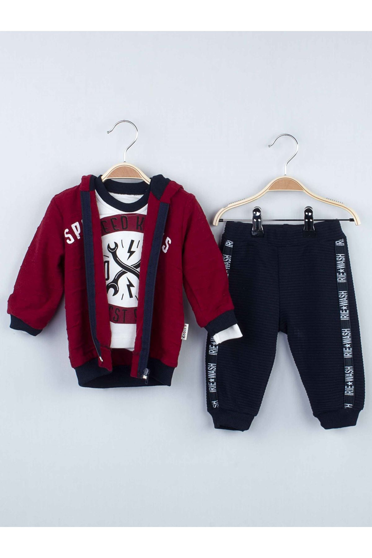 Bordo Kışlık Kapüşonlu Erkek Bebek 3 lü Takım