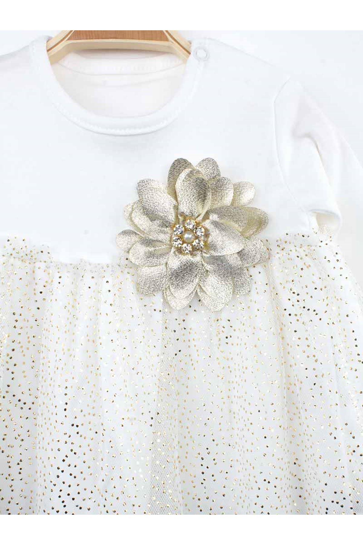 Beyaz  Kız Bebek Taytlı Takım