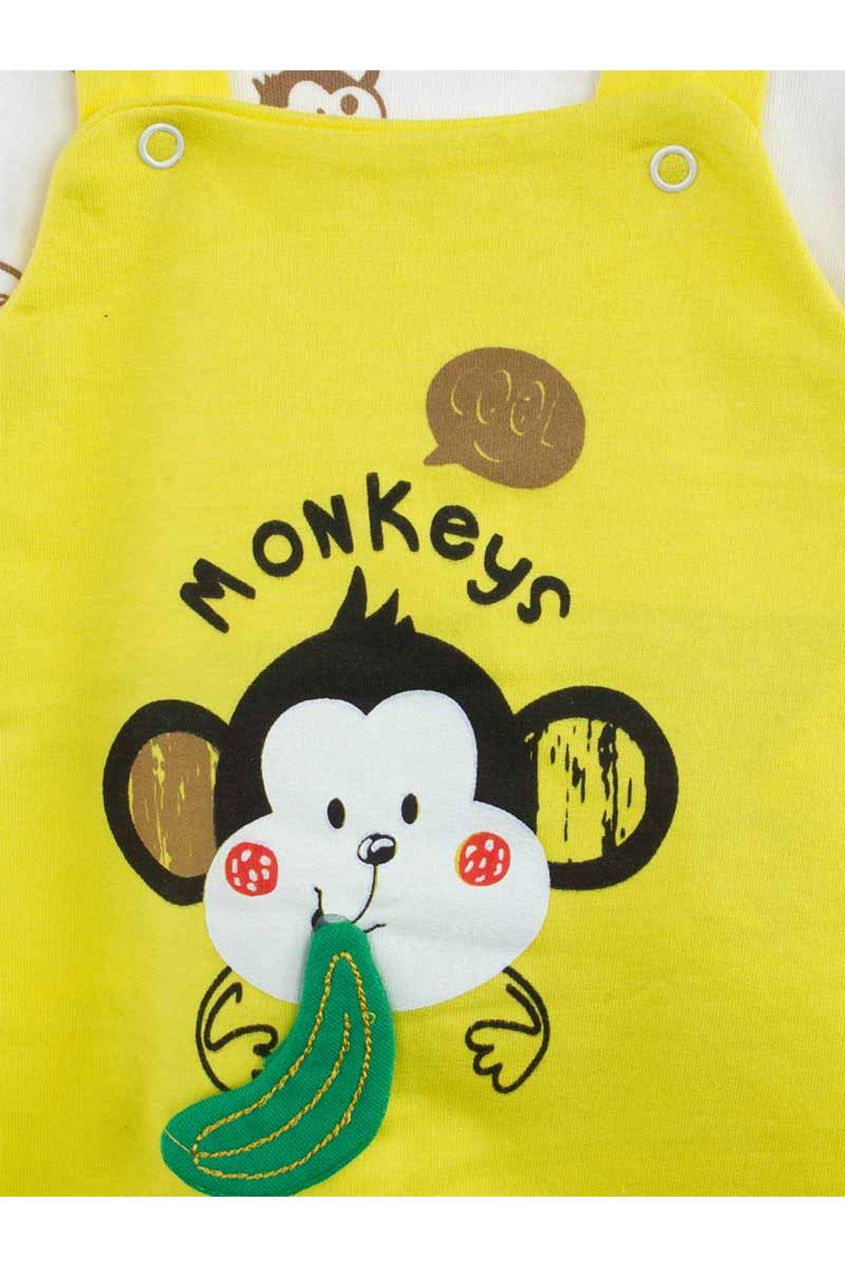 Yellow baby girl boy monkey knit jumpsuit cotton comfortable jumpsuit model daily stylish babies models