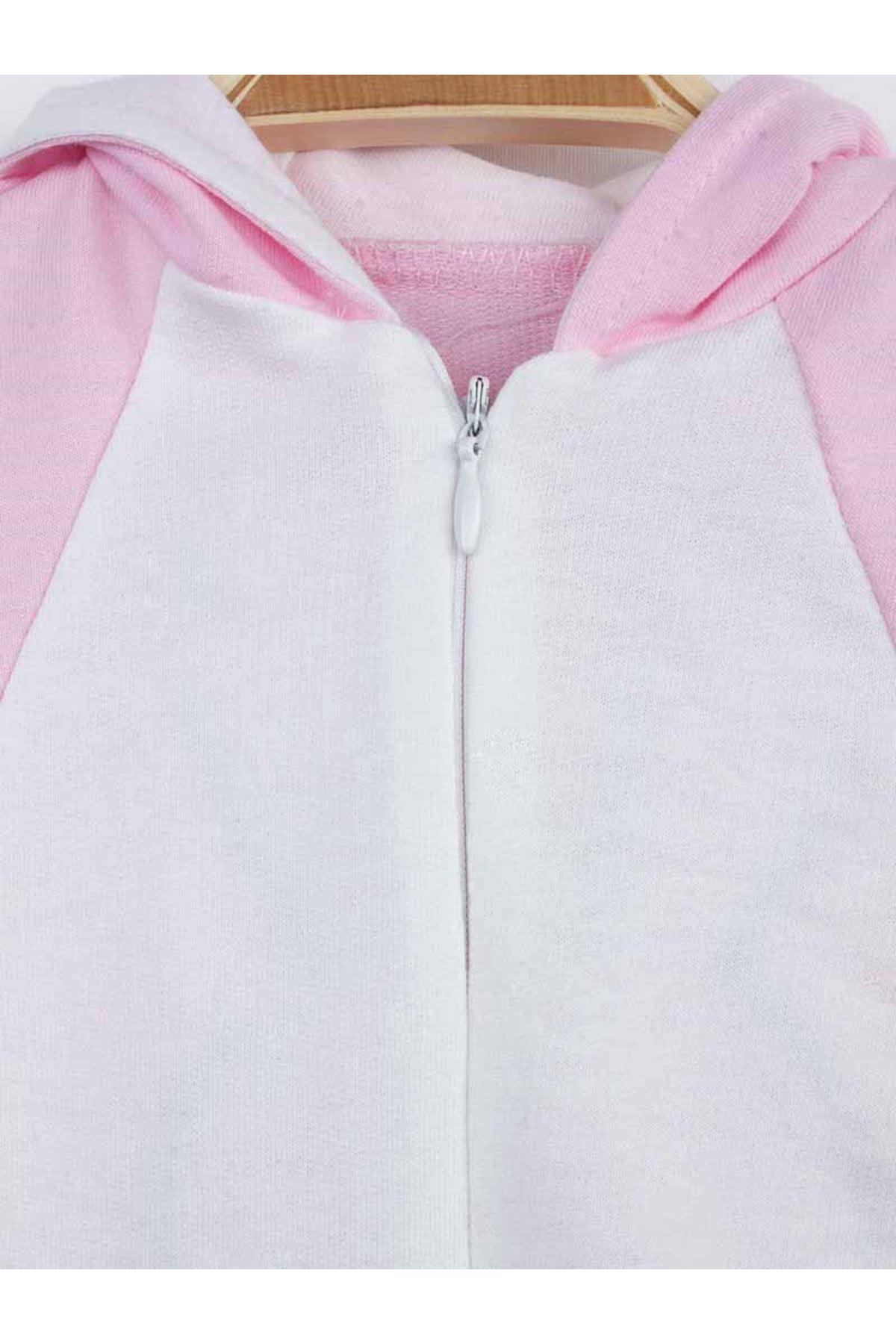 Pink Rabbit Ears Baby Girl Jumpsuit