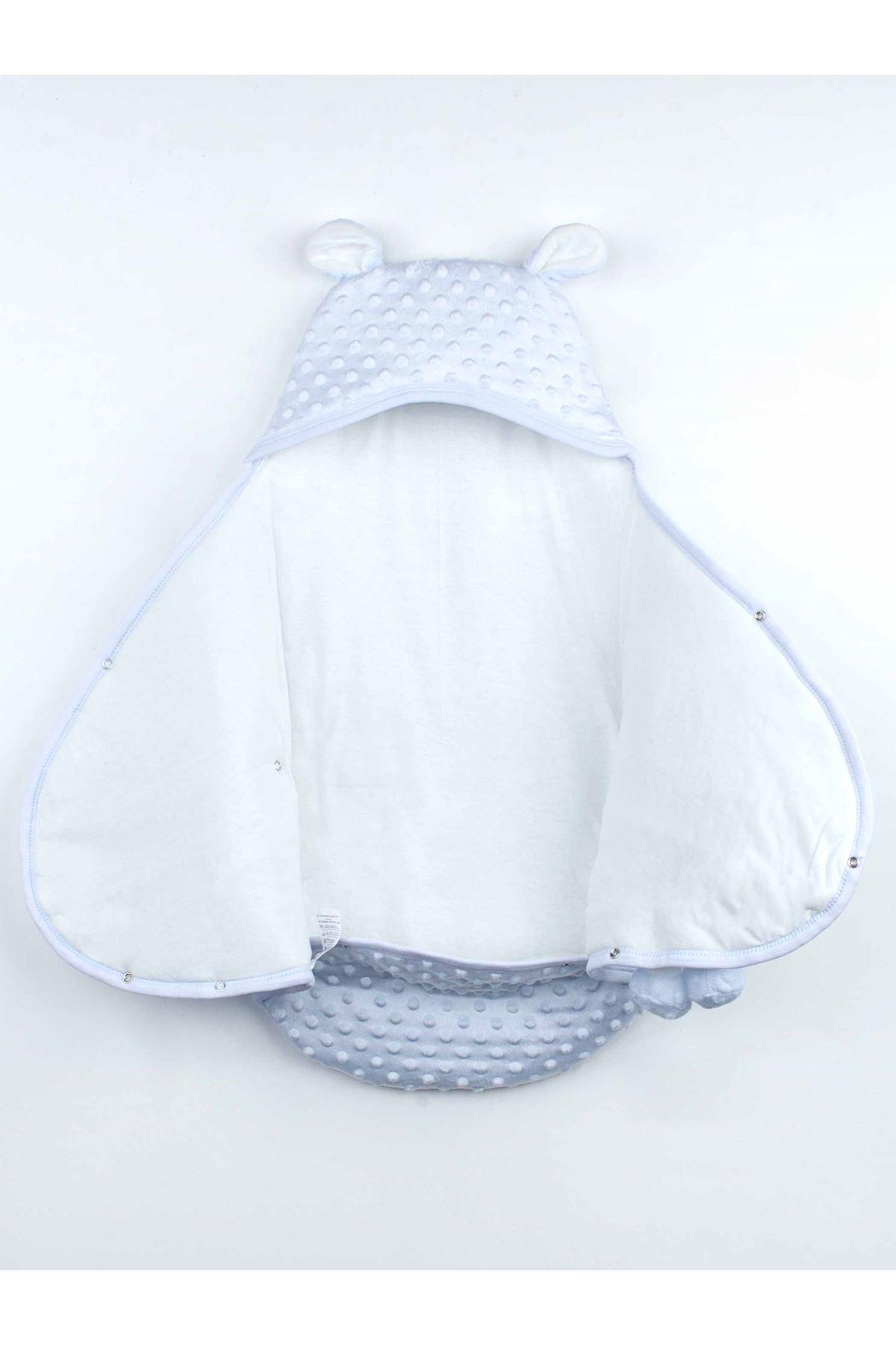 Mavi Erkek  Bebek Ayıcıklı Nohut Kundak