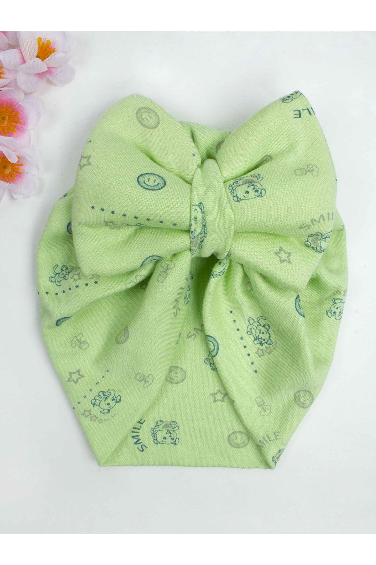 Green Bow Baby Girl Bone