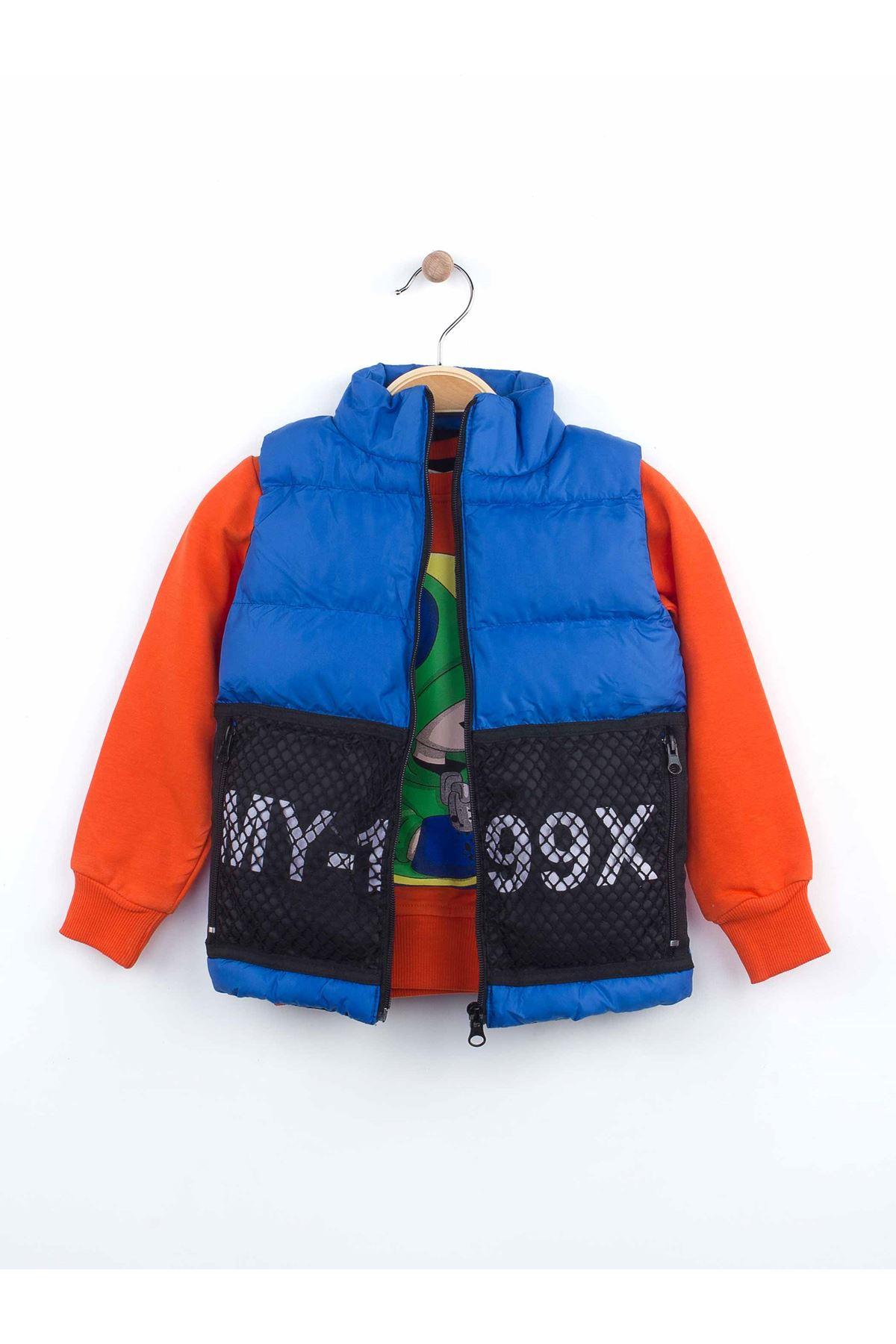 Sax Kışlık Şişme Yelekli Erkek Çocuk 3 lü Takım