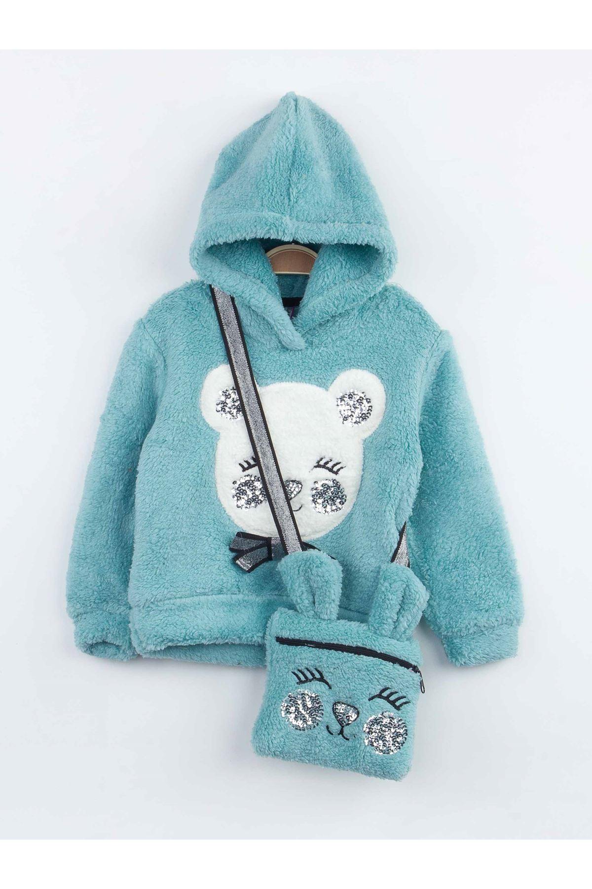 Green Winter Plush Female Child Bag 3 PCs Set