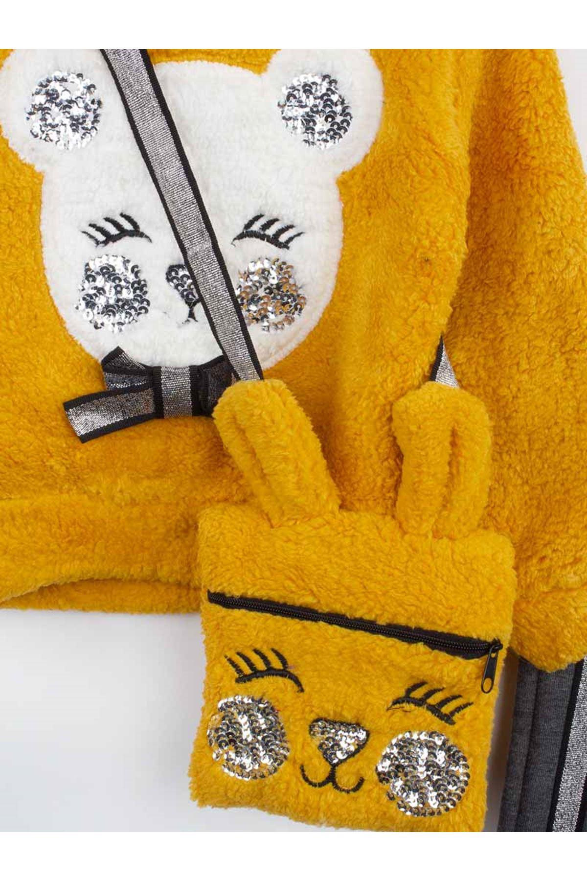 Sarı Kışlık Peluş Kız Çocuk Çantalı 3 lü Takım