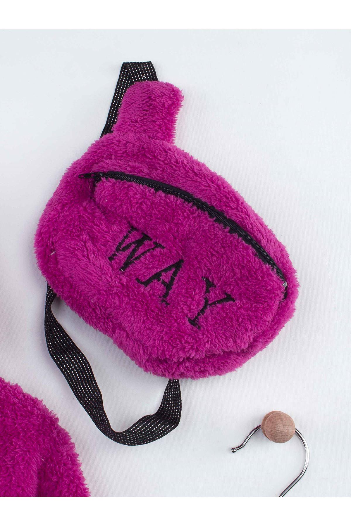 Mor Kışlık Peluş Çantalı Kapüşonlu Kız Çocuk Taytlı Takım