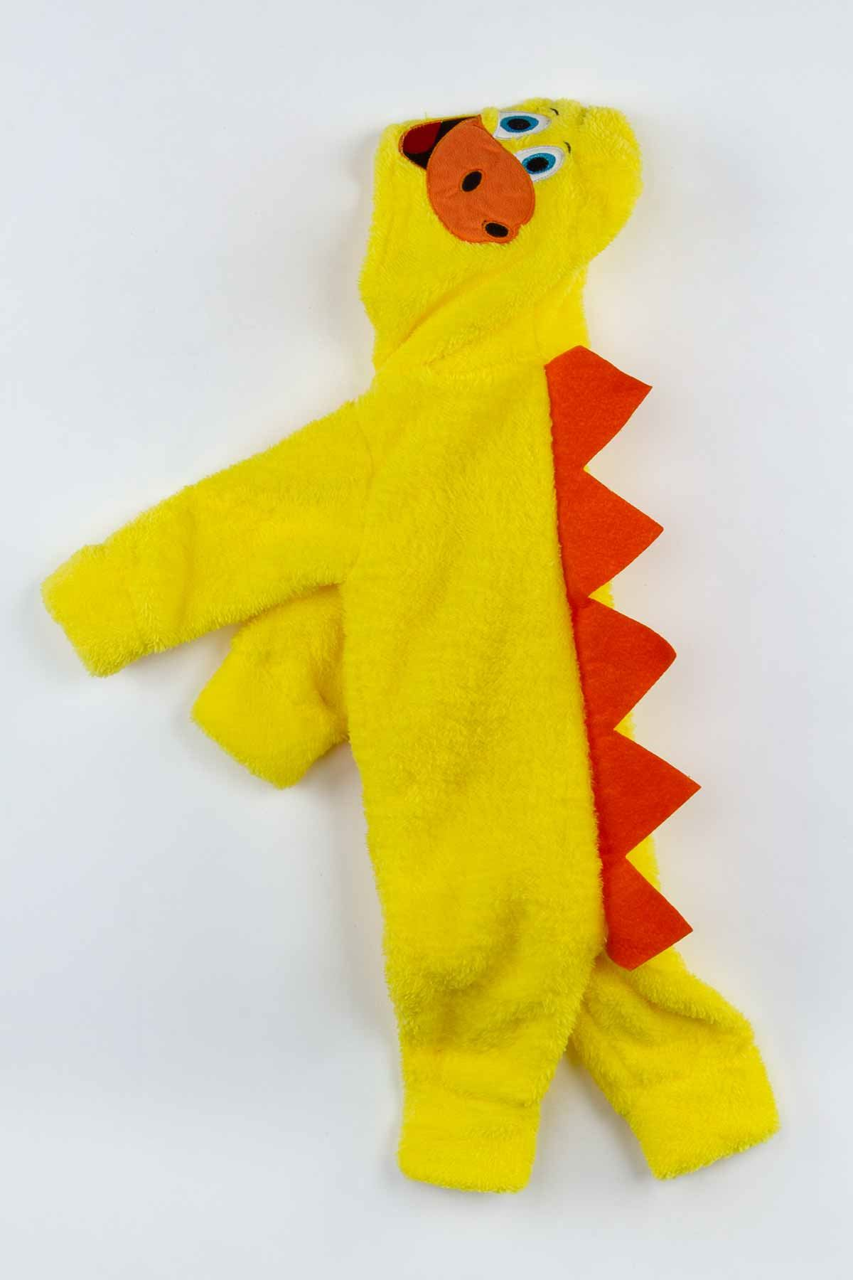 Sarı Peluş Dinazor Figürlü Erkek Bebek Tulum
