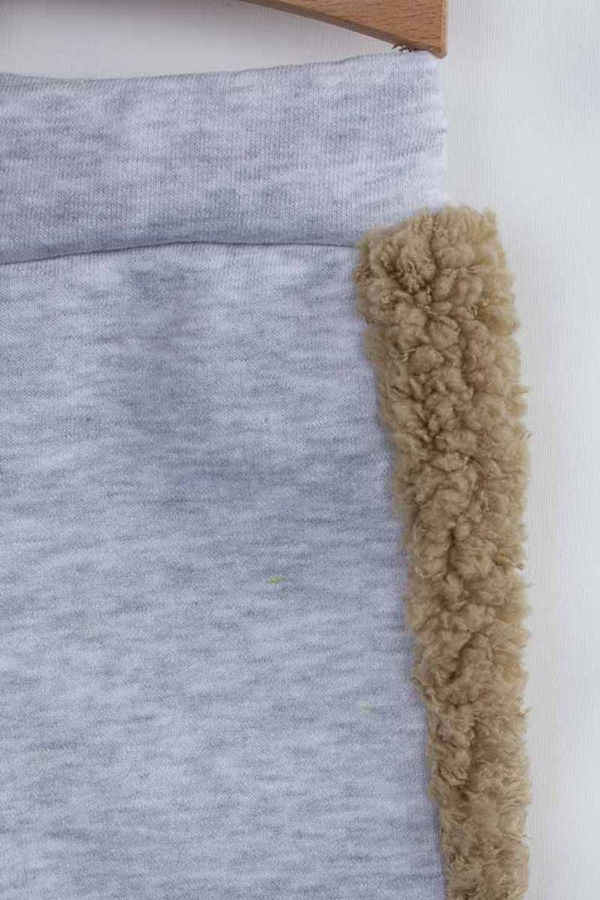 Kahverengi Kışlık Peluş Kapüşonlu Erkek Bebek 2 li Takım