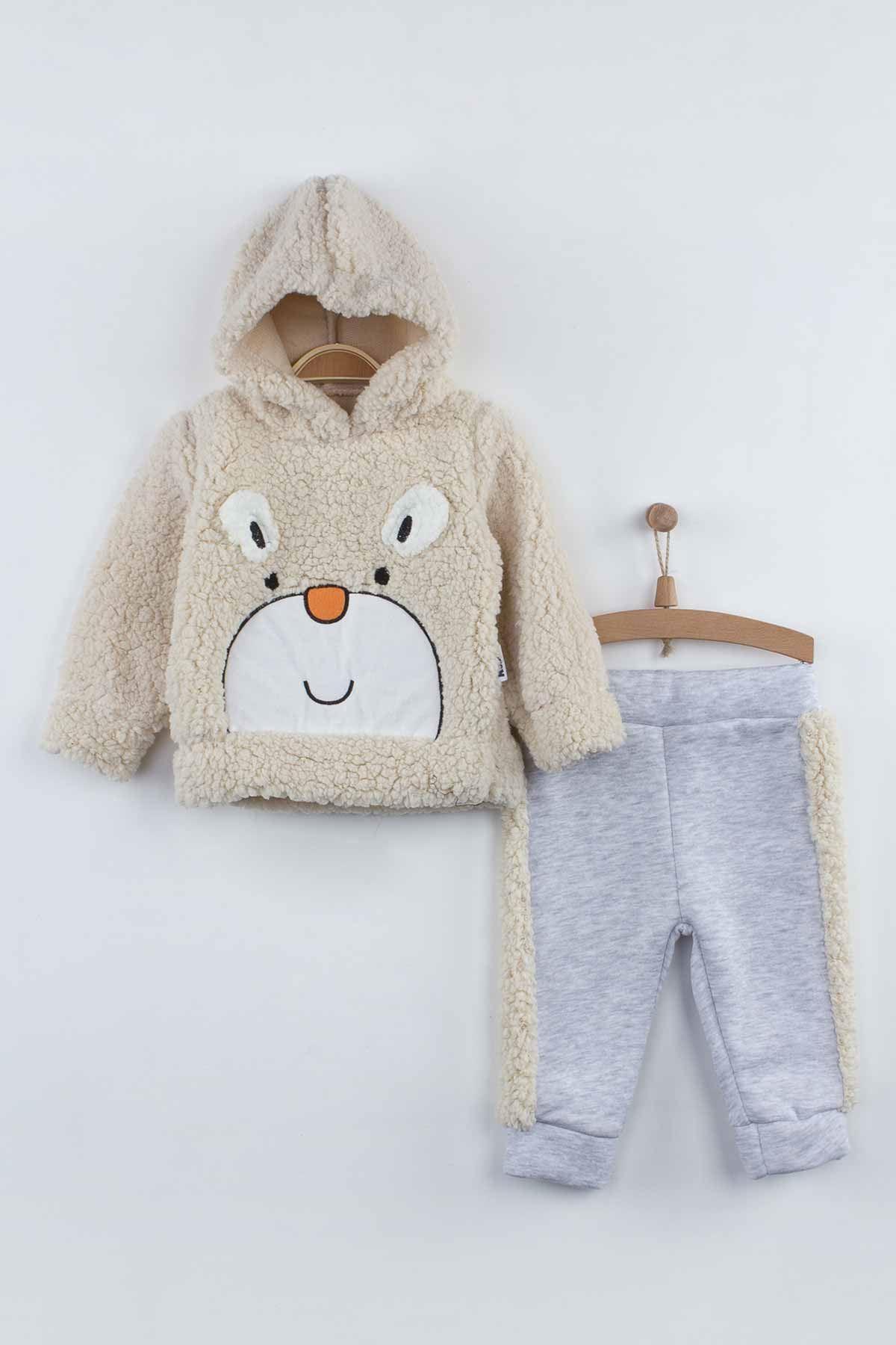 Krem Kışlık Peluş Kapüşonlu Erkek Bebek 2 li Takım