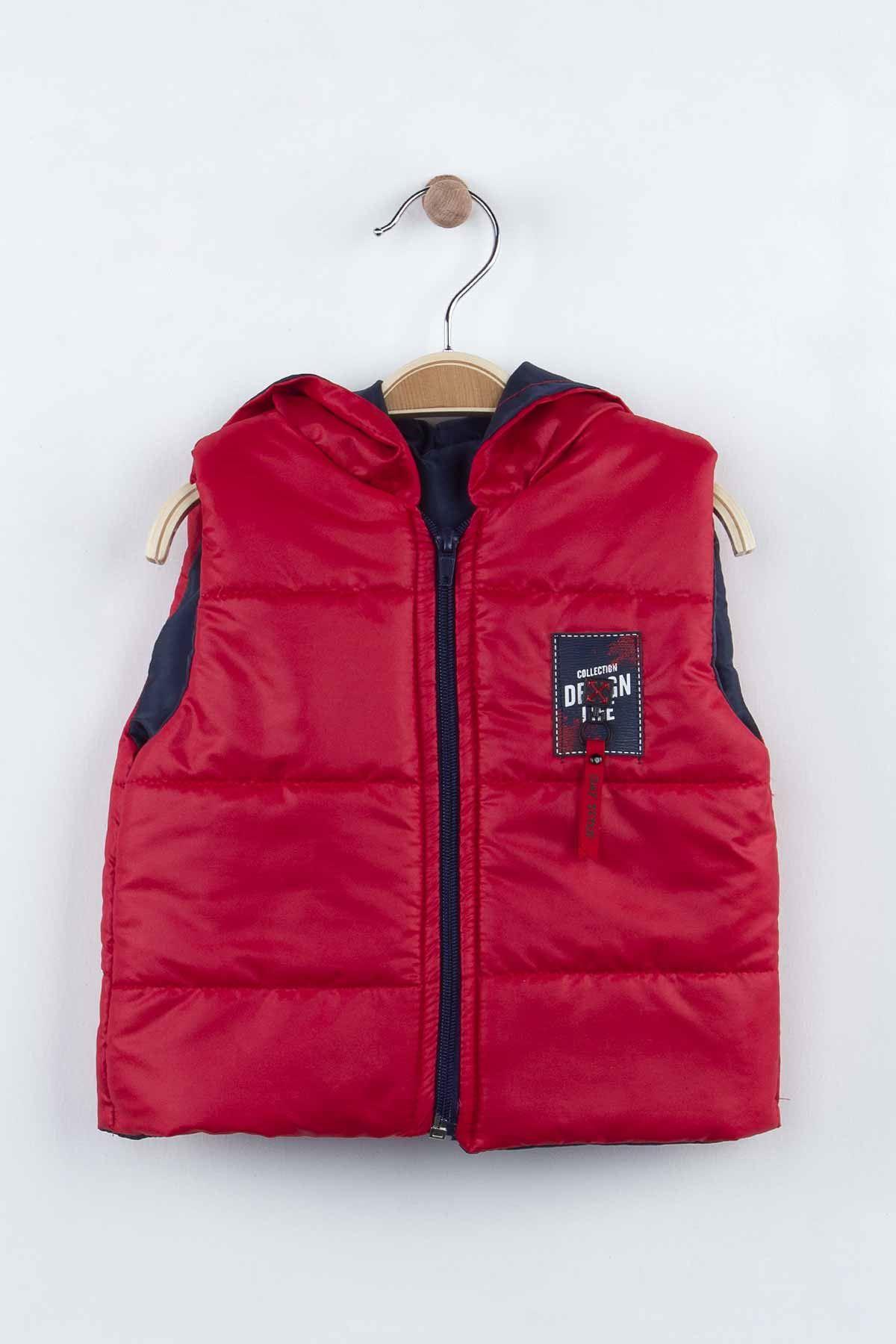 Kırmızı Kışlık Şişme Yelekli Kapüşonlu Erkek Çocuk 3 lü Takım