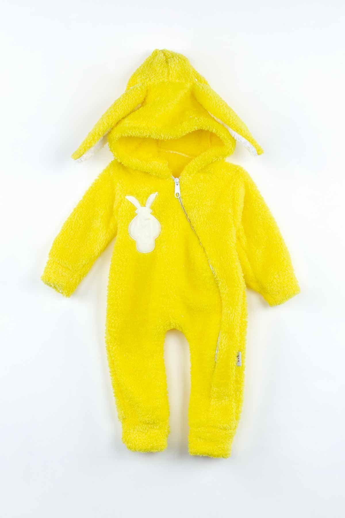Sarı Peluş Tavşan Kulaklı Erkek Bebek Tulum