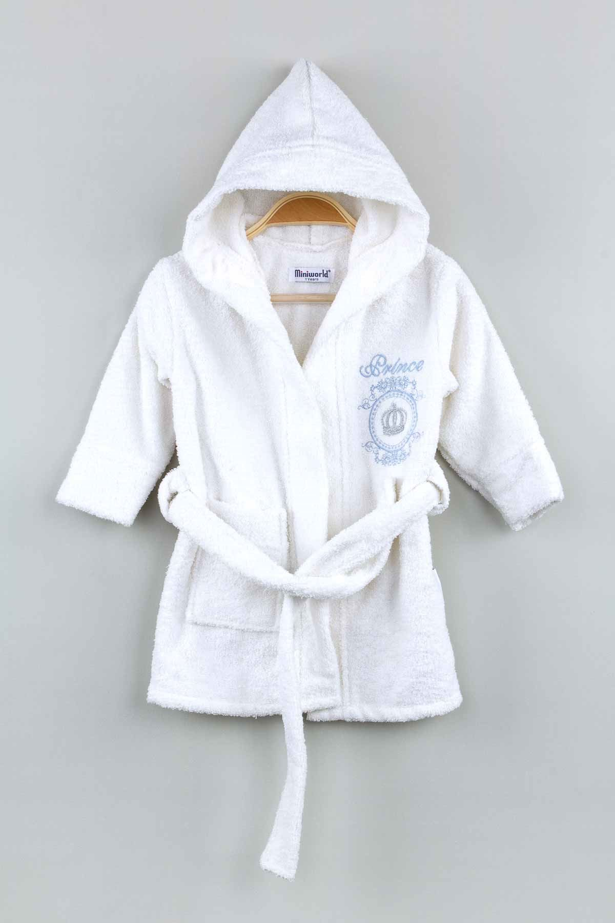 White Boy Girls Kids Baby Bathrobe Prince Embroidered Cotton Hooded Bath Clothes Kids Babies Drying Gown Luxury Child Model