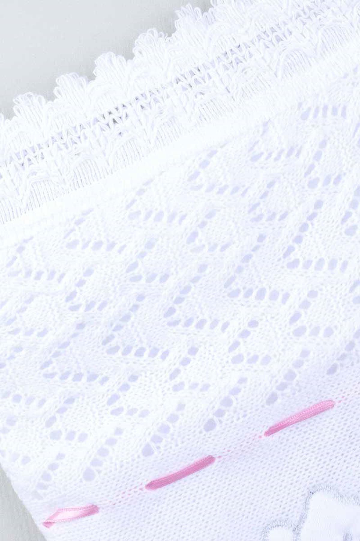 Beyaz Triko Örme 80x80 cm Kız  Bebek Battaniye