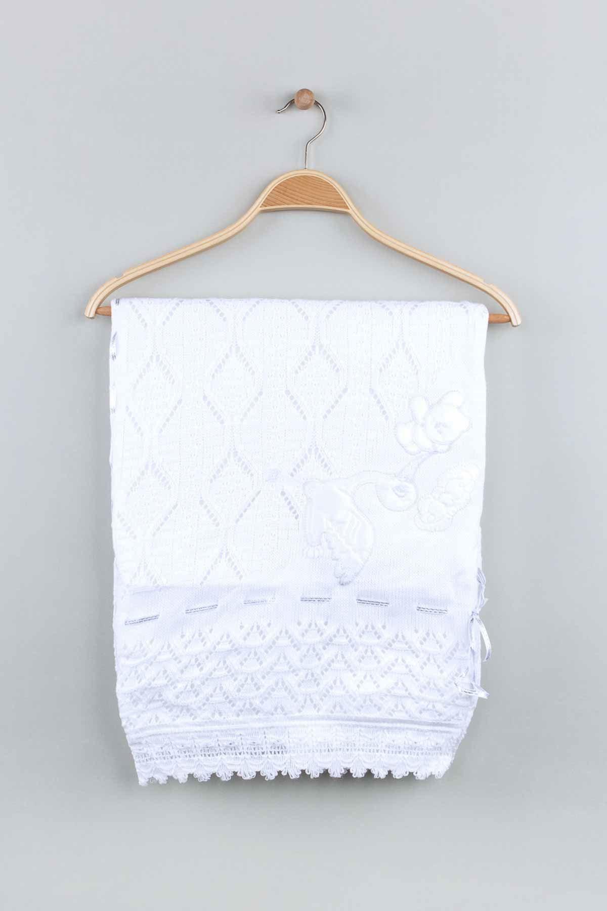 White Tricot Knit 80x80 Cm Baby Blanket