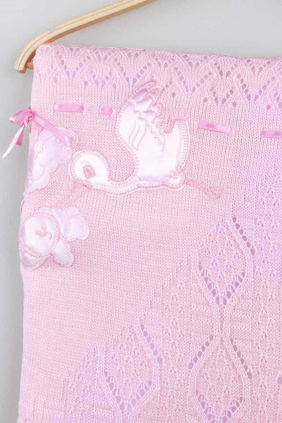 Pembe Triko Örme 80x80 cm Kız  Bebek Battaniye