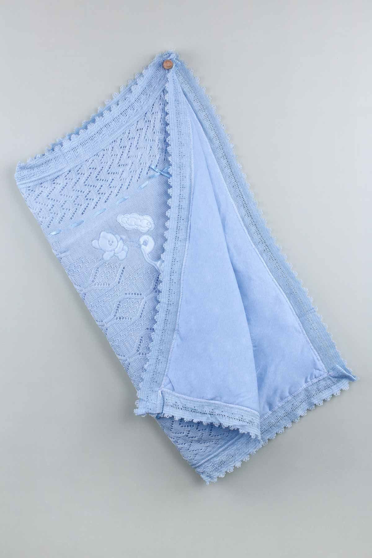 Blue Tricot Knit 80x80 Cm Baby Boy Blanket