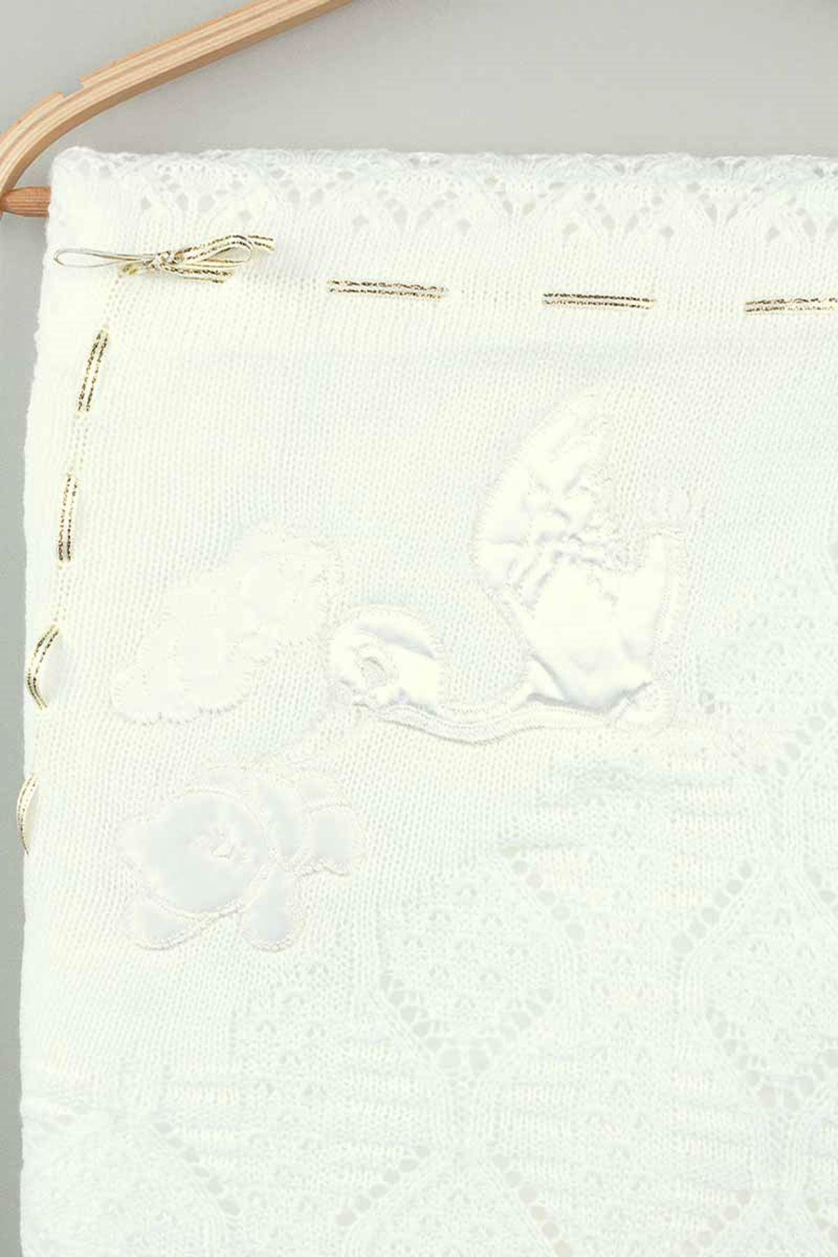 Cream Tricot Knit 80x80 Cm Baby Blanket