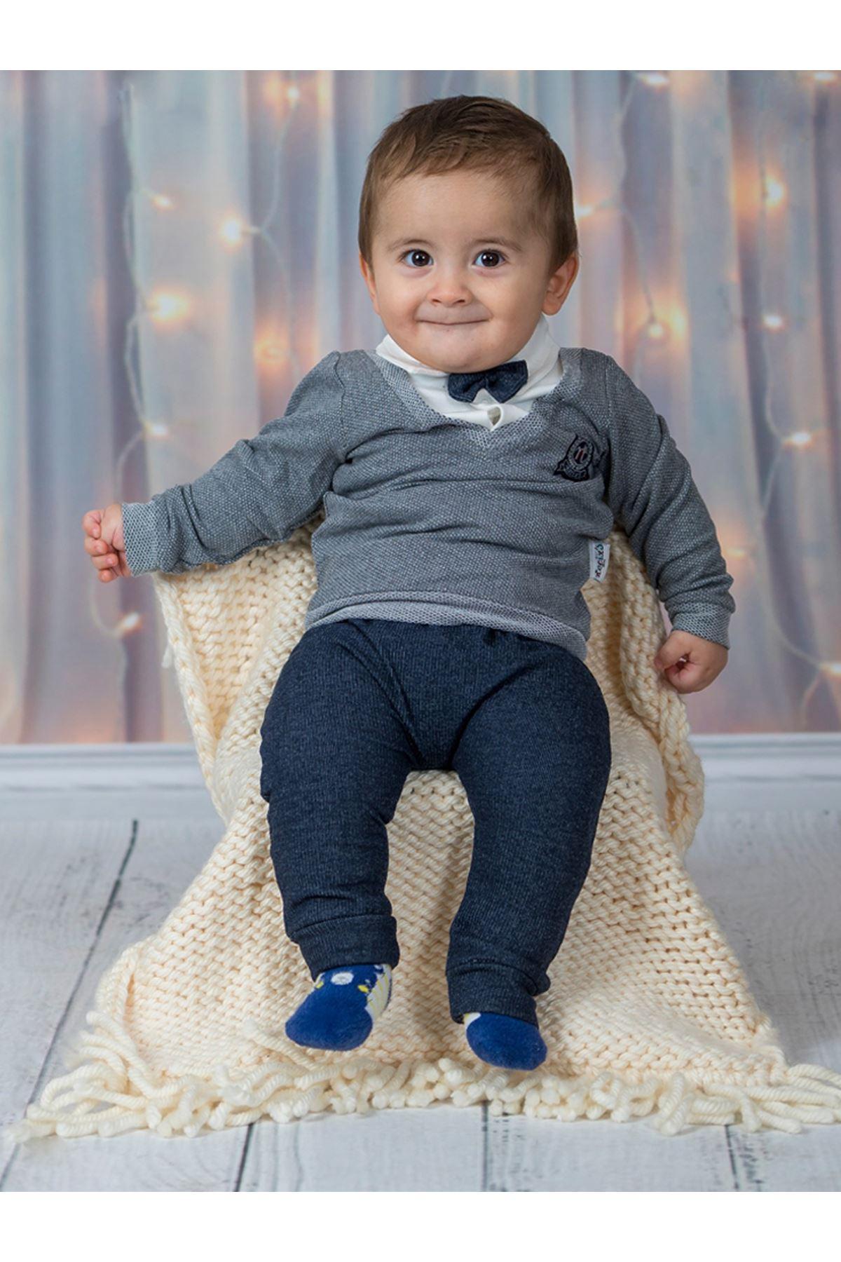 Gri Lacivert 2 li  Erkek Bebek Takım