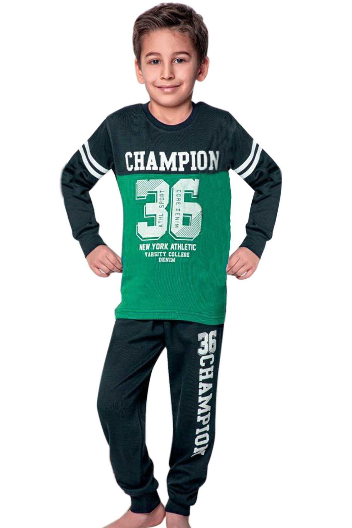 Yeşil Erkek Çocuk Pijama Takımı