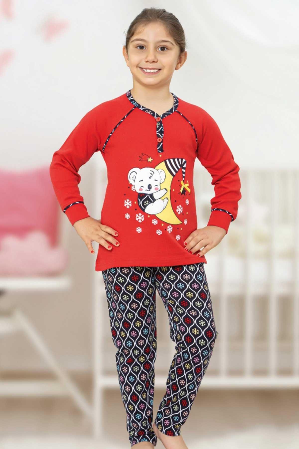 Kırmızı Kız Çocuk Pijama Takımı