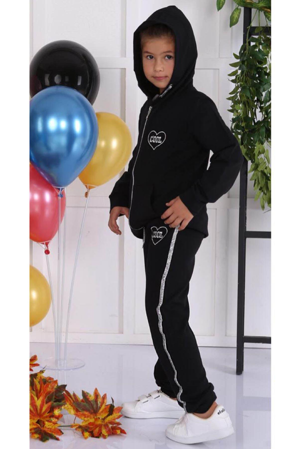 Black Seasonal Hooded Female Child 2 pcs Suit