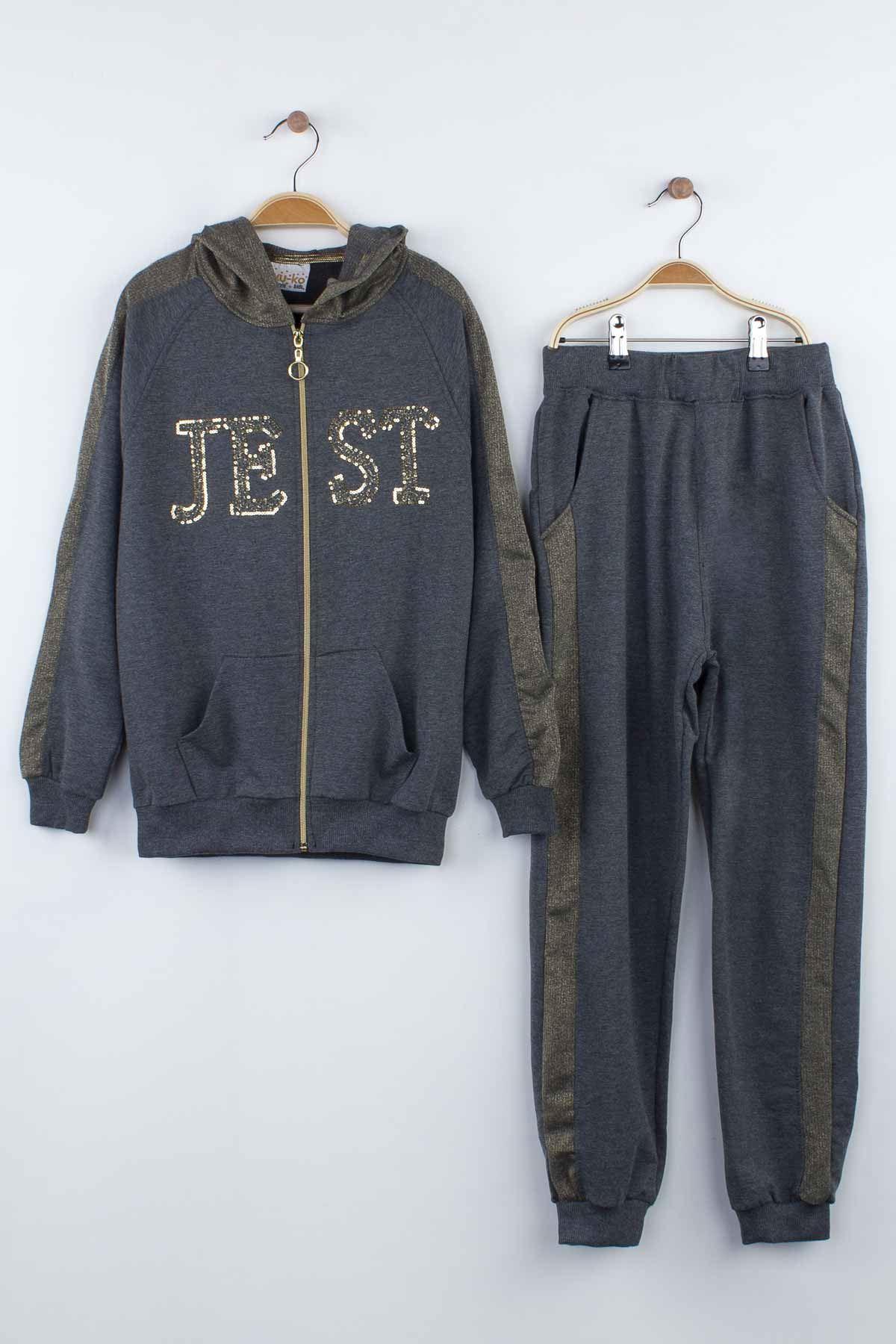 Grey girls seasonal bottom tracksuit top hooded sweat 2 piece tracksuit set models