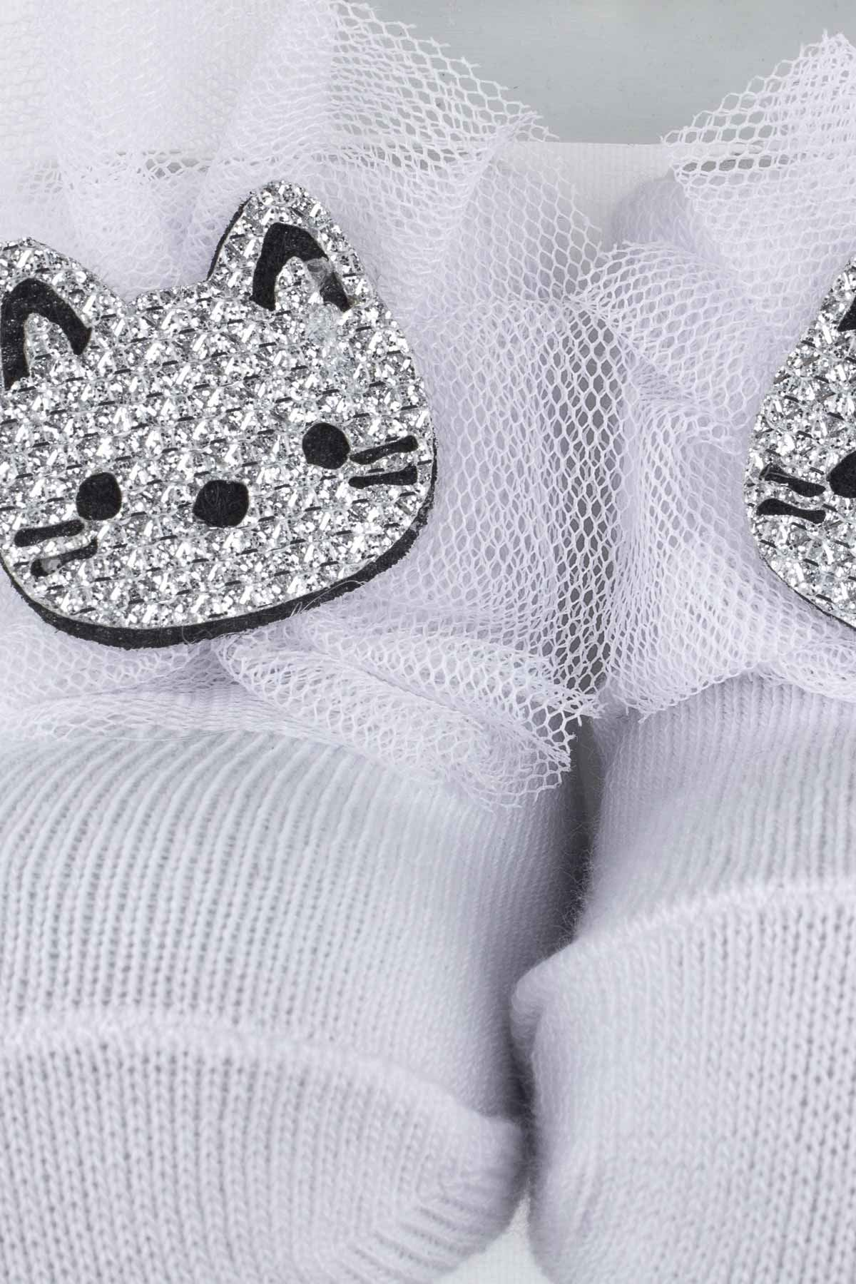 Cream Cat Baby Girl Socks