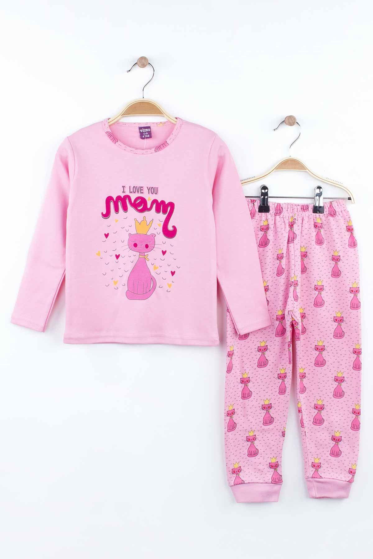 Pink Girls Pajamas Set Bottom Pajamas Top Pajamas Kids Daily Wear Homewear Cotton Comfortable Children Pajamas Sets Models