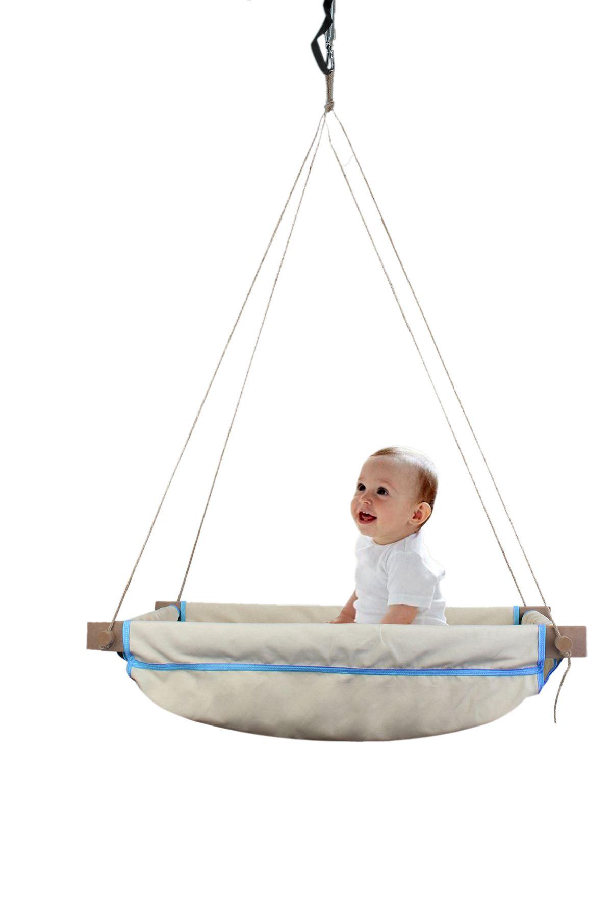 Wise Mavi Ahşap Yaylı Bebek Beşik Salıncak Hamağı