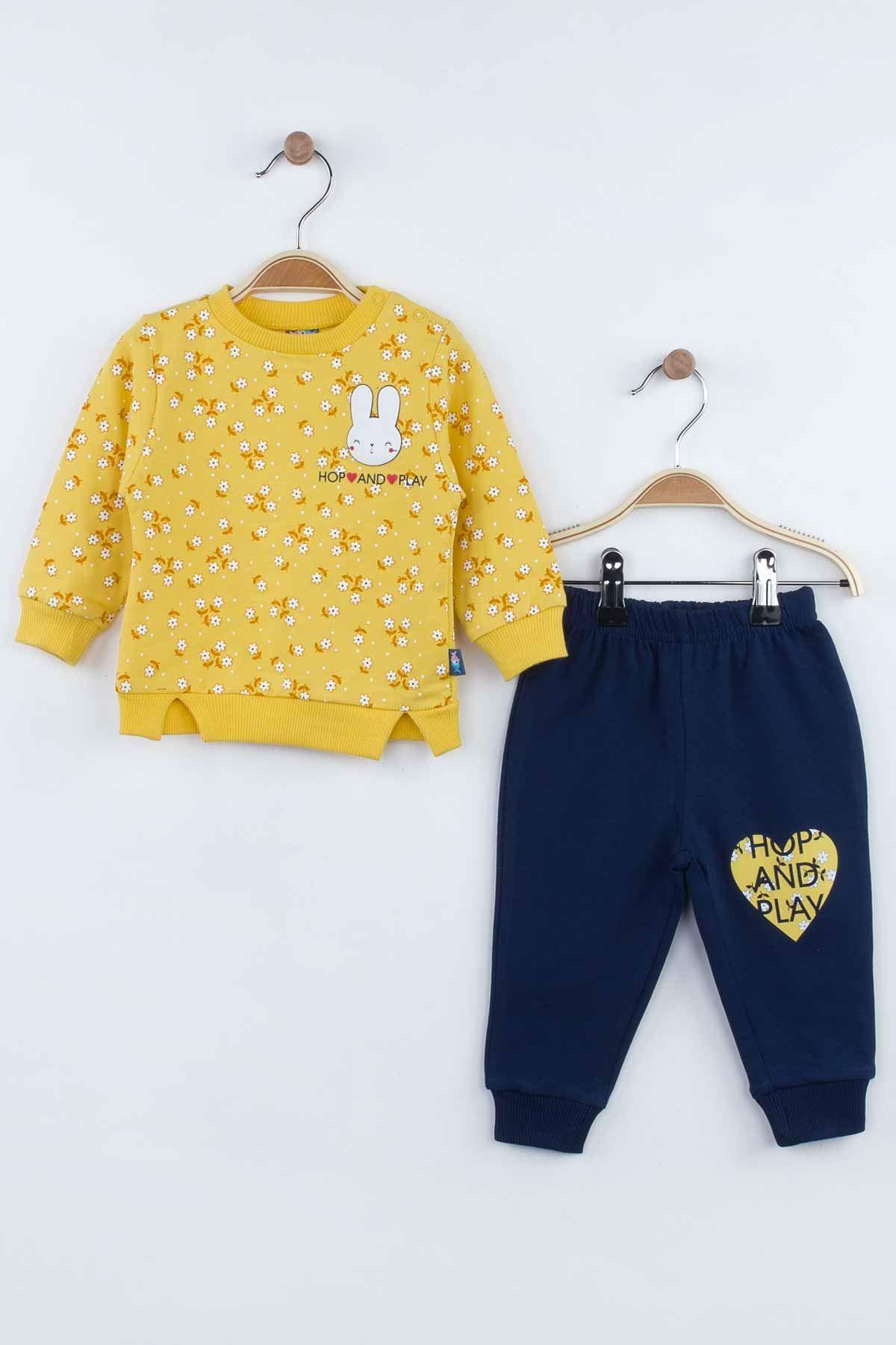 Yellow Baby Girl Children 2 Piece Bottom, top Suit Set Seasonal Cotton Comfortable Kids Babies Sweat-Proof High Quality Suits