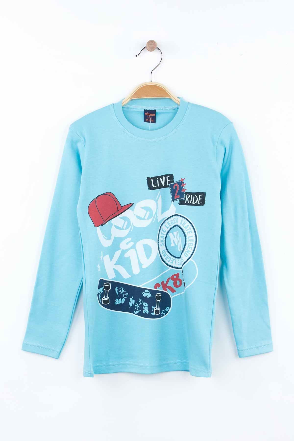Turquoise Boys Young Pajamas Set Tracksuits Home Use Cotton Fabric Comfortable Clothes 2 Piece Boy Male Set Models