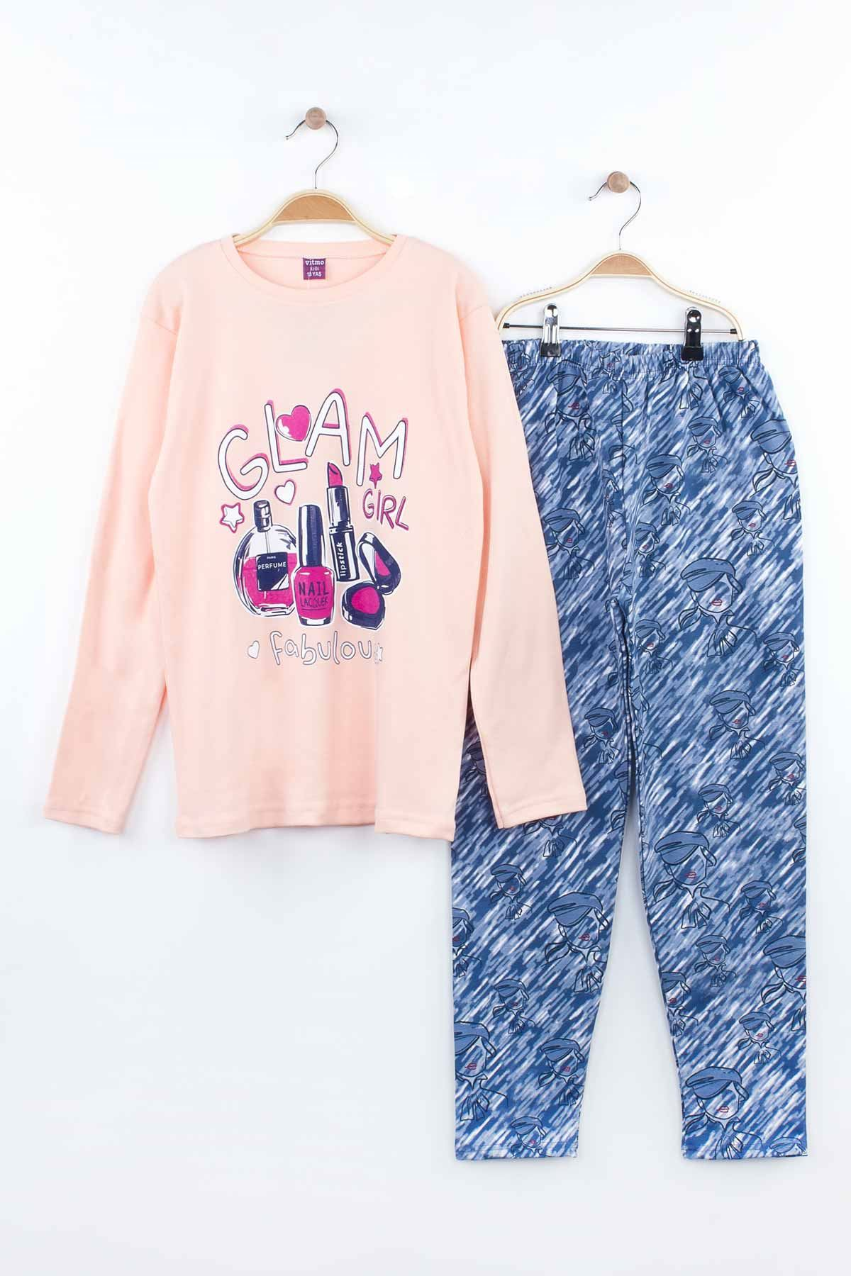 Powder Pink Girls Child Teen Young Pajamas Set Tracksuits Home Use Cotton Fabric Comfortable Clothes 2 Piece Girl Set Models
