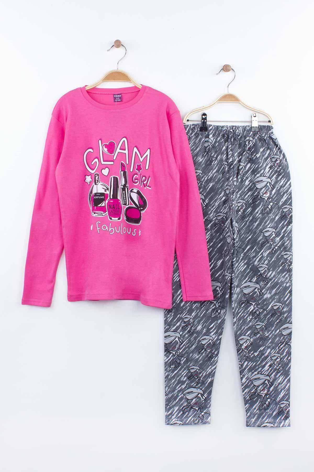 Fuşya Kız Çocuk Pijama Takımı