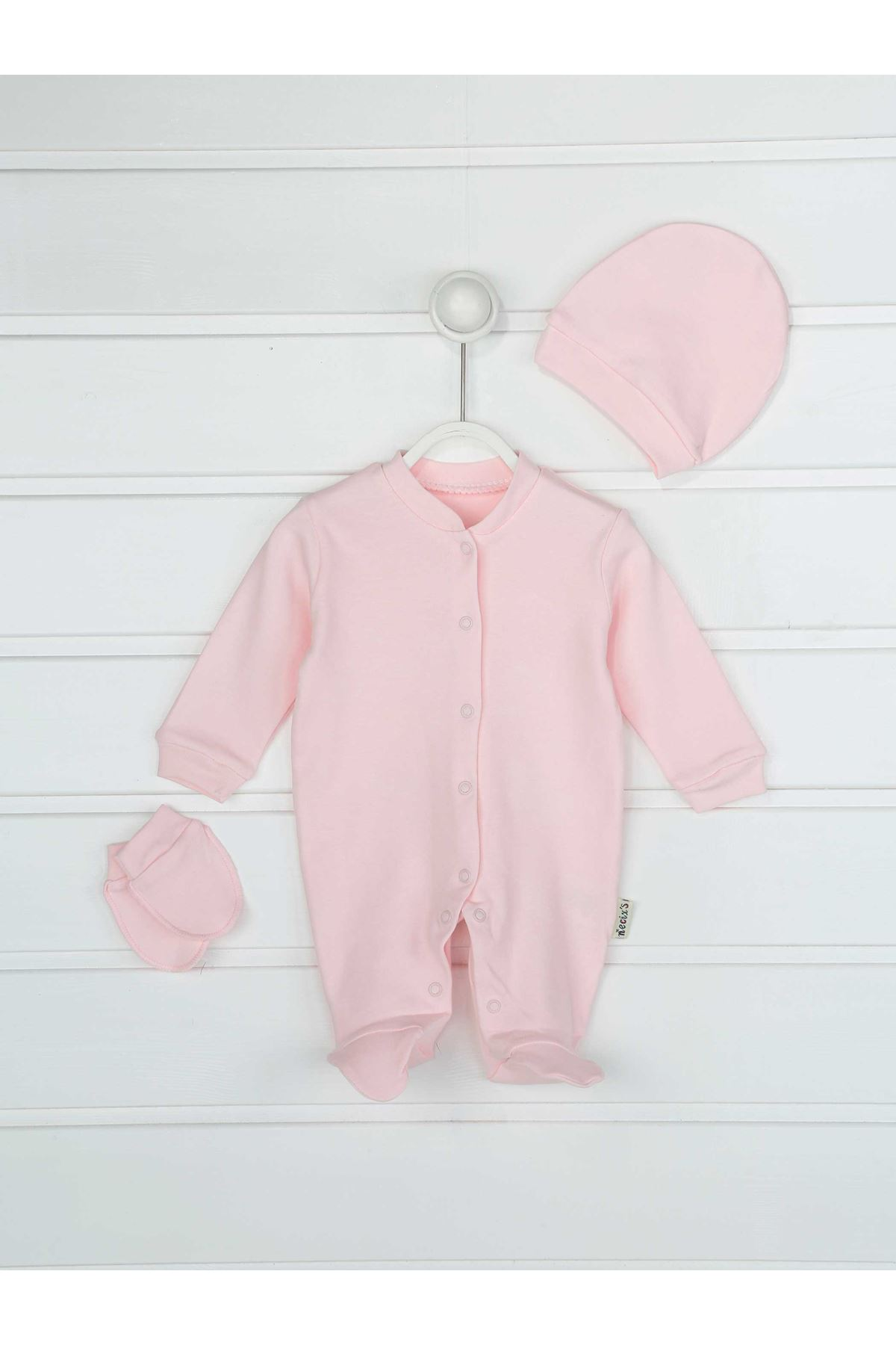 Pink baby girl solid color 3-piece suit overalls gloves hat infants cotton comfortable daily newborn hospital outlet models