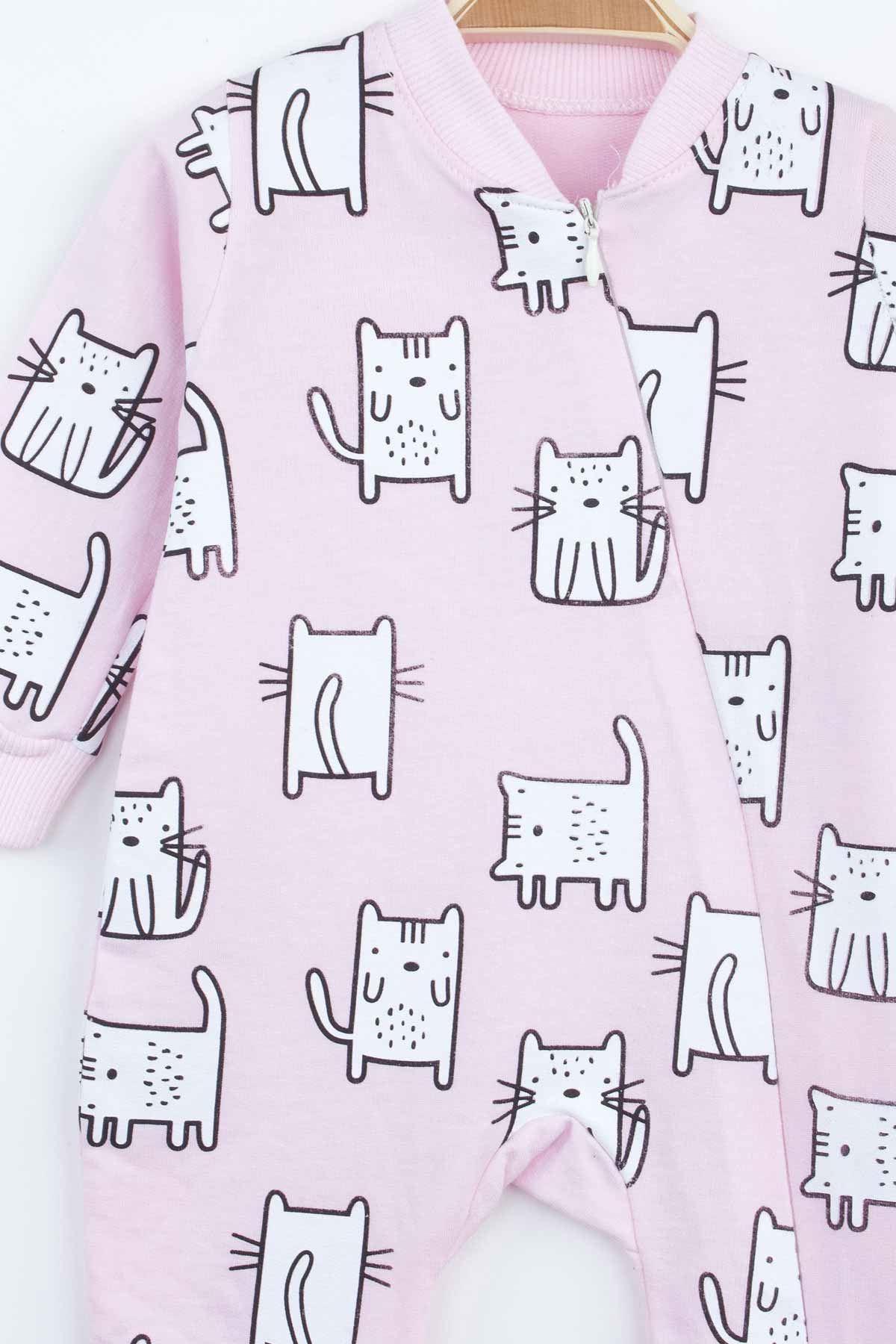 Pembe Kedi Desenli Kız Bebek Tulum