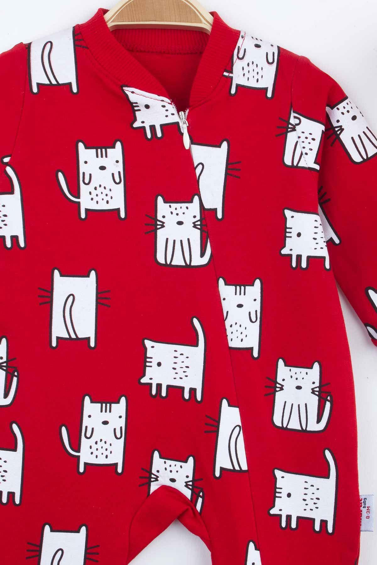 Kırmızı Kedi Desenli Kız Bebek Tulum