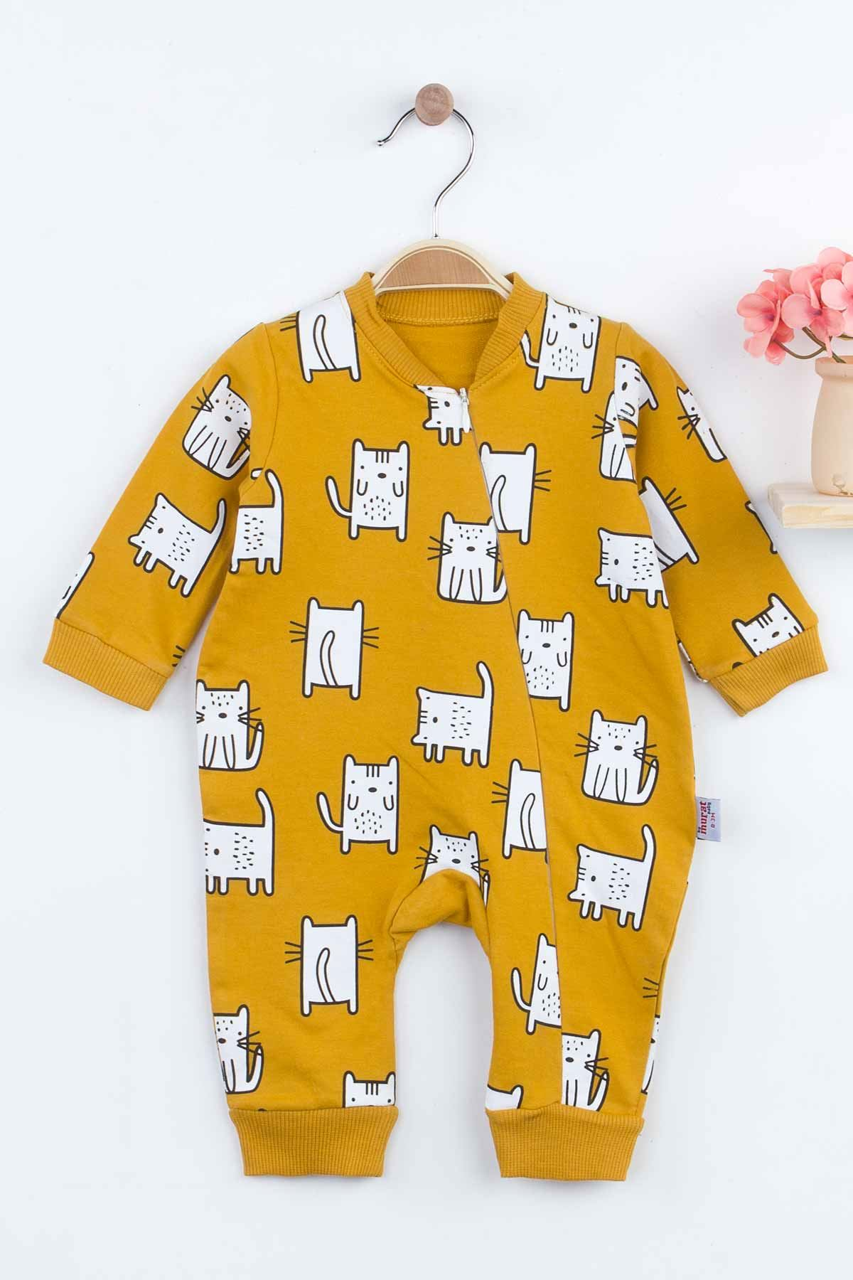 Sarı Kedi Desenli Kız Bebek Tulum