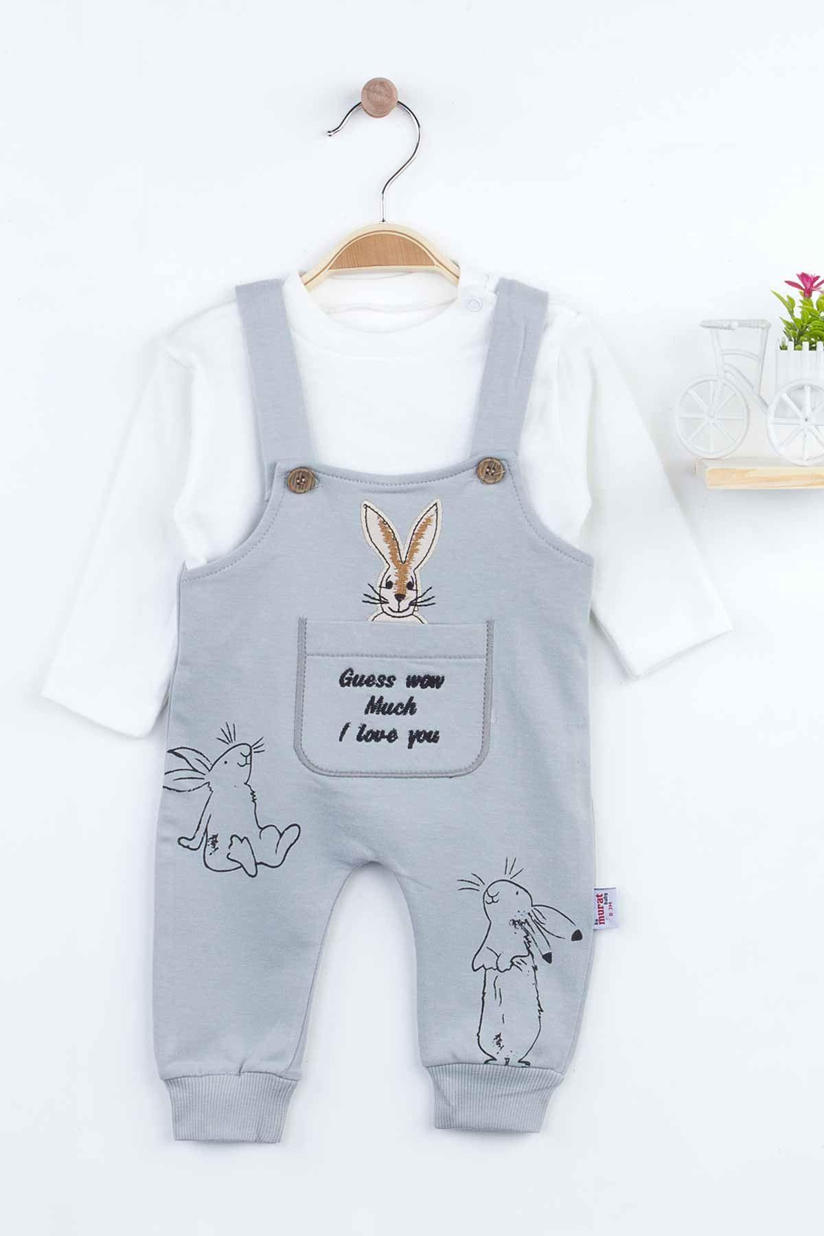 Gri Tavşan Desenli Kız Bebek Salopet Tulum