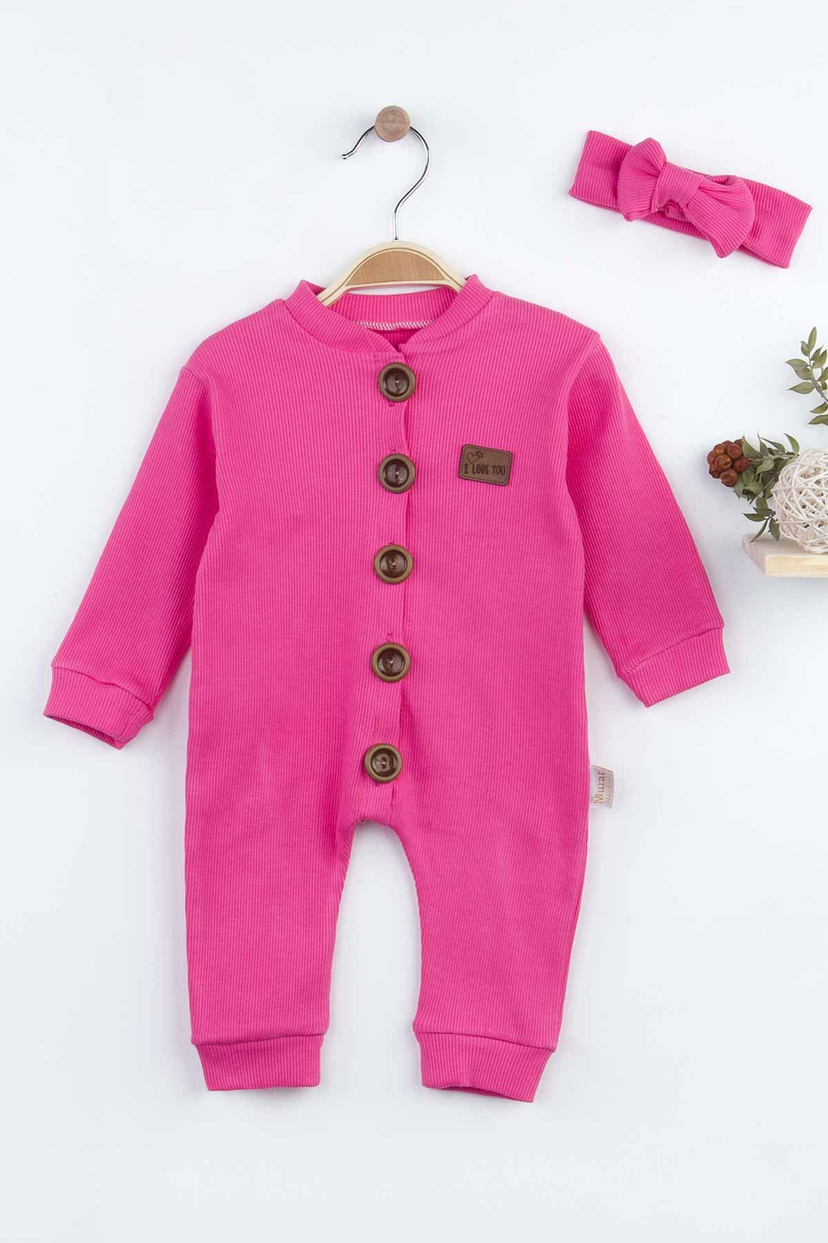 Fuchsia Baby Girl Rompers Babies Clothes Set Outfit Cotton Comfortable Underwear Hair bandanna New Season Girls Salopet Model