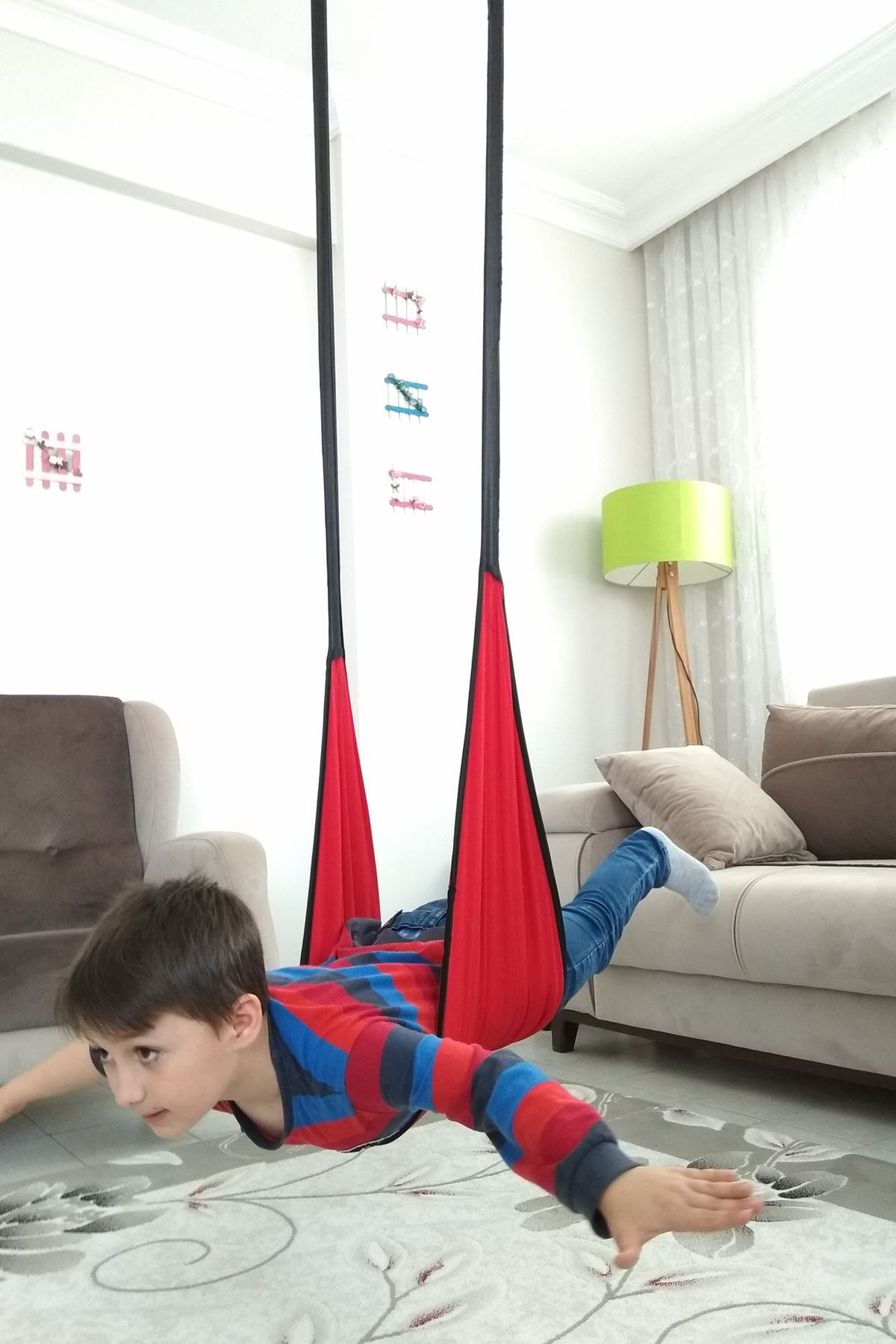 Red Nature Picnic Hammock Children Swing Home Garden Use Hanging Bracket Activity Kids Drop Model Amusement Model