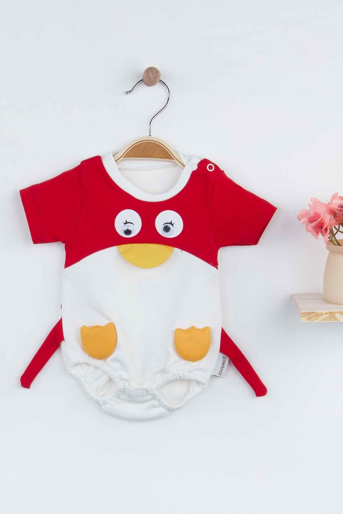 Kırmızı Erkek Bebek Penguen Figürlü Tulum