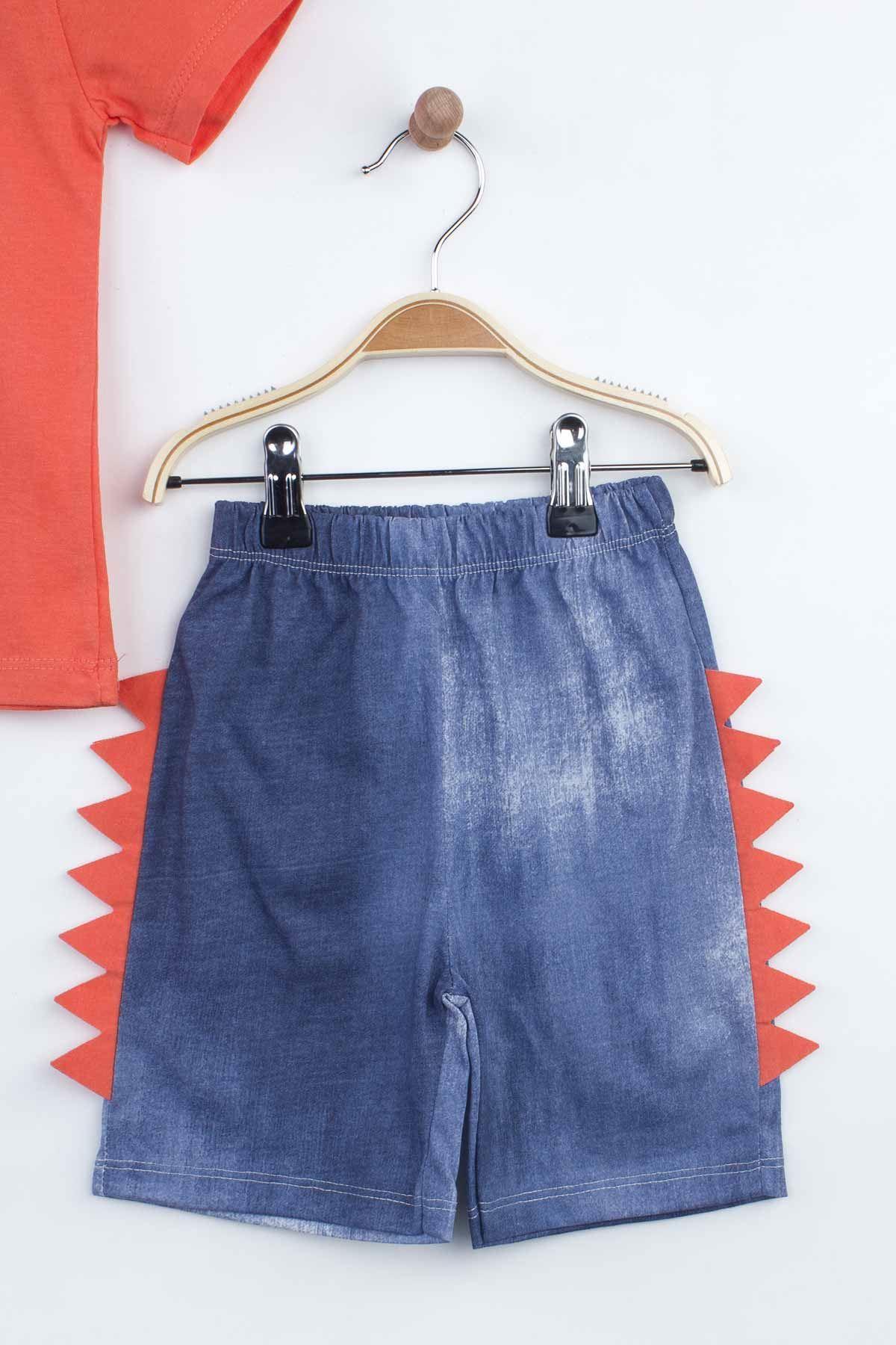 Orange Boy Children Suit Shorts Capri T-shirt Set Summer 2021 Fashion Kids Boys Outfit Cotton Casual Vacation Use clothing Model