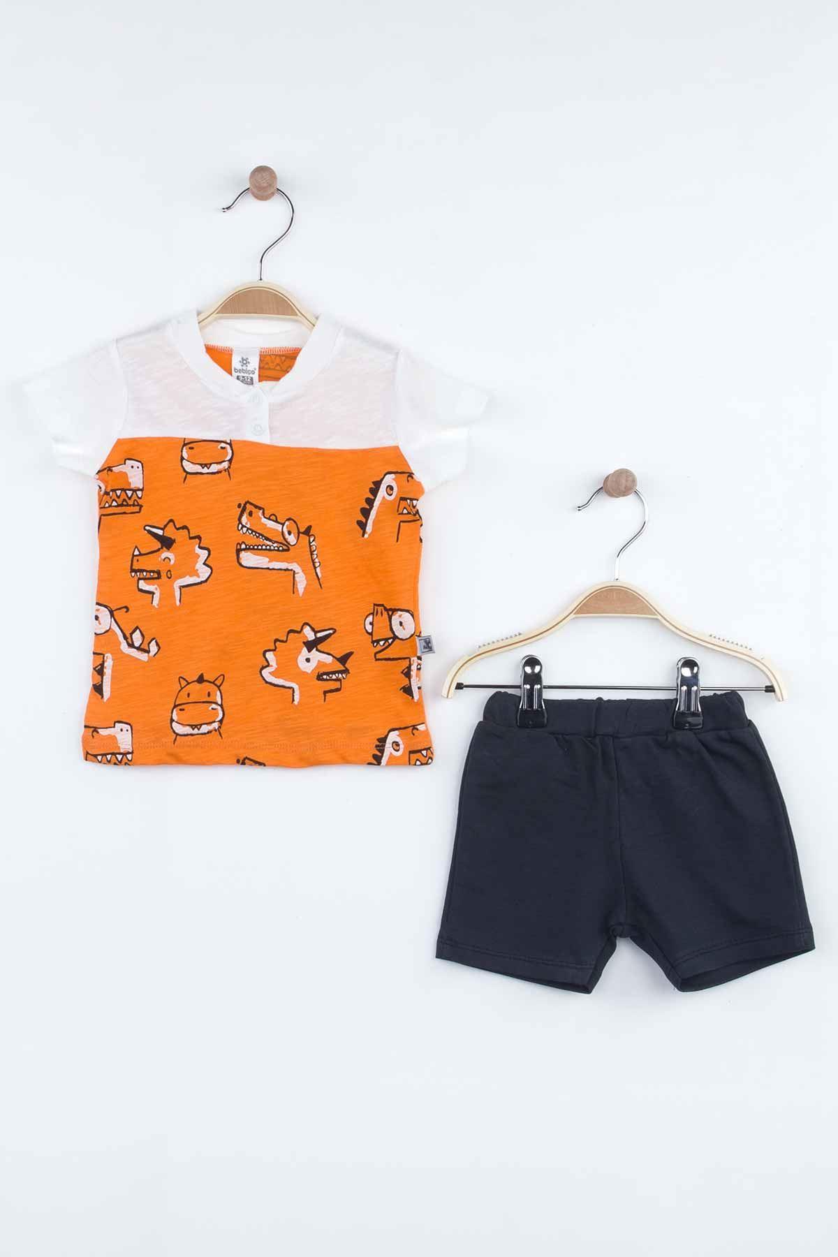 Orange Baby Boy Shorts Set Summer 2021 Fashion Babies Boys Outfit Cotton Casual Vacation Use Clothing Models