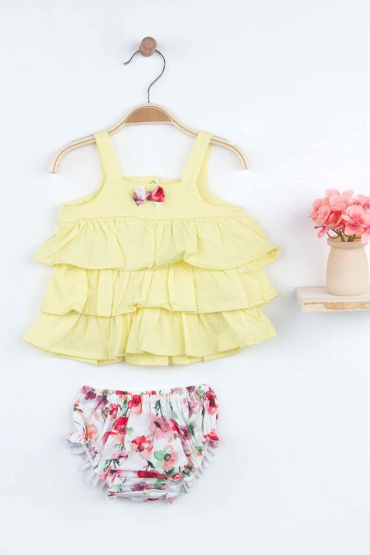 Yellow Summer Baby Girl Suit Shorts Body Hair Bandana Clothing Summer Holiday Girls Babies Comfortable Daily Cotton Underwear Se